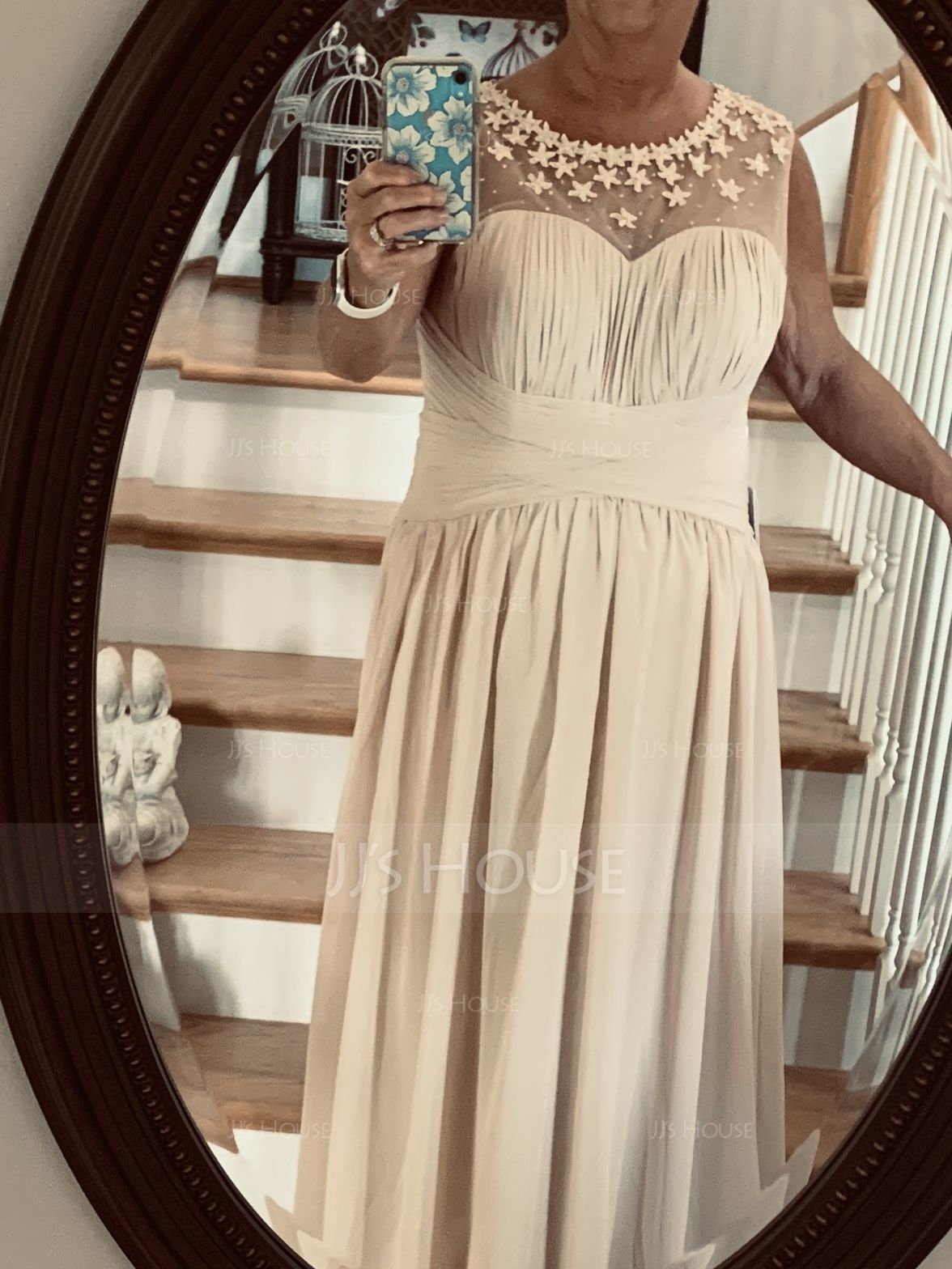 A-Line Scoop Neck Floor-Length Chiffon Prom Dresses With Ruffle Beading Flower(s) (018056791)