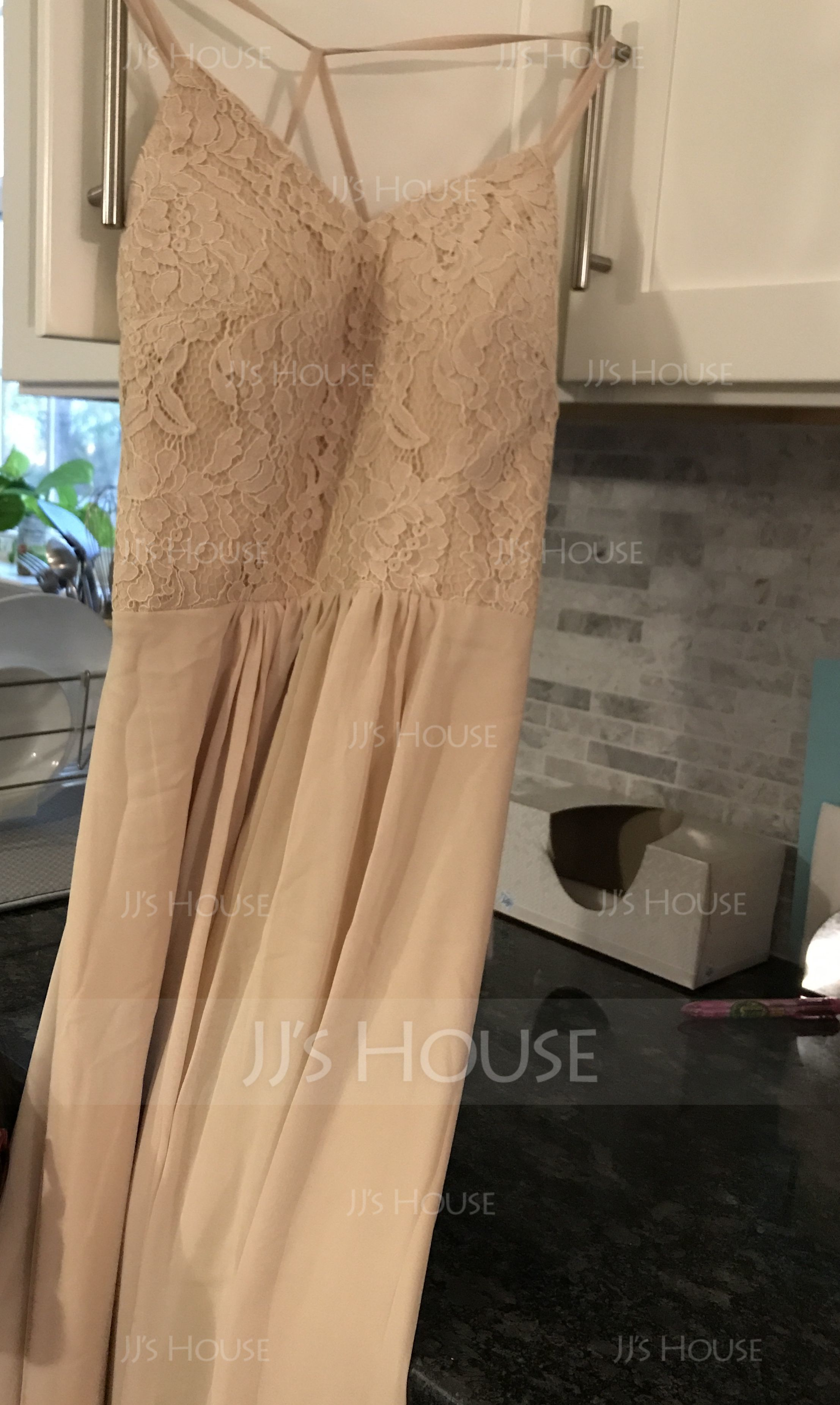 A-Line/Princess Halter Floor-Length Chiffon Lace Bridesmaid Dress With Bow(s) Split Front (007165829)