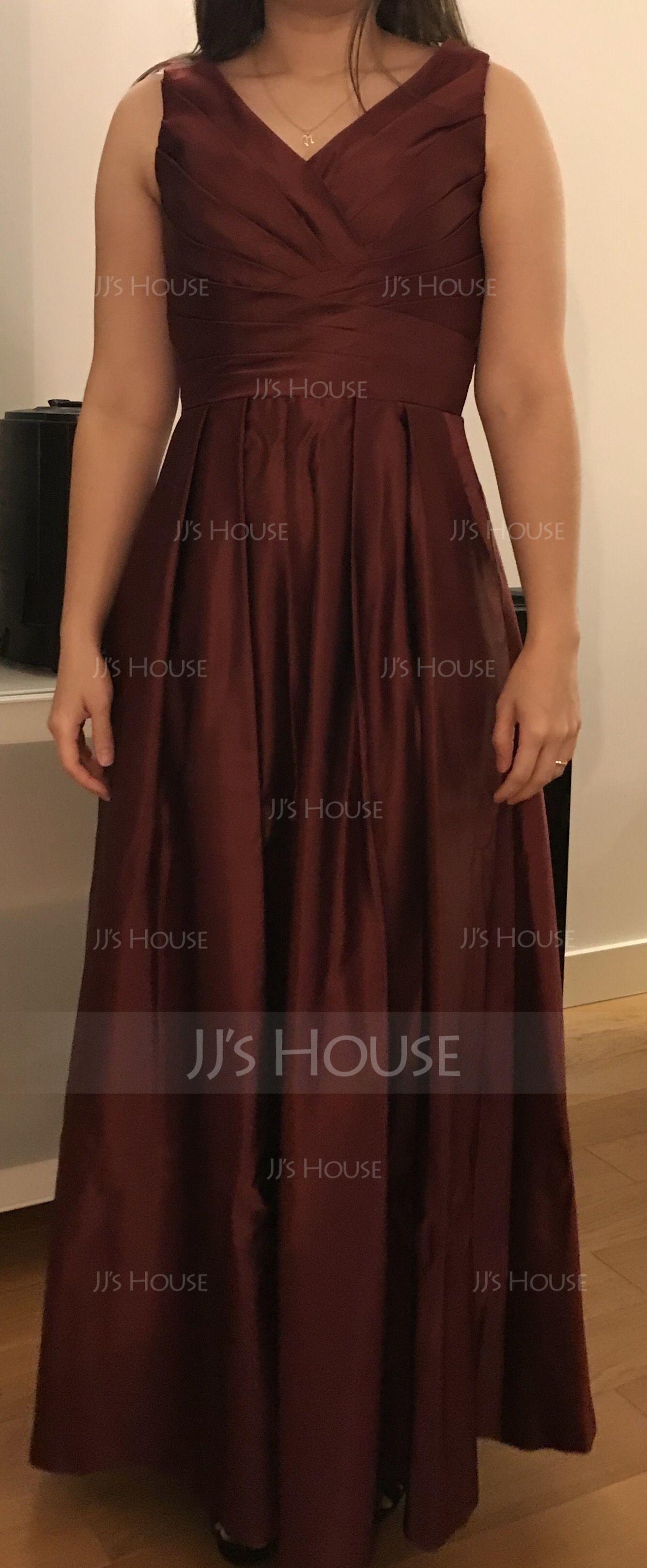 A-Line/Princess V-neck Floor-Length Satin Bridesmaid Dress With Ruffle Pockets (007074189)