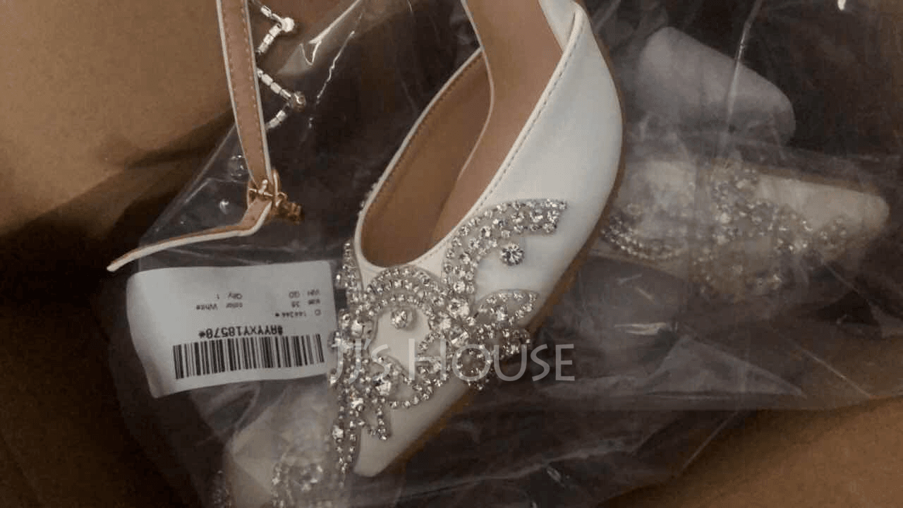 Women's Leatherette Stiletto Heel Closed Toe Pumps Sandals MaryJane With Buckle Rhinestone Chain