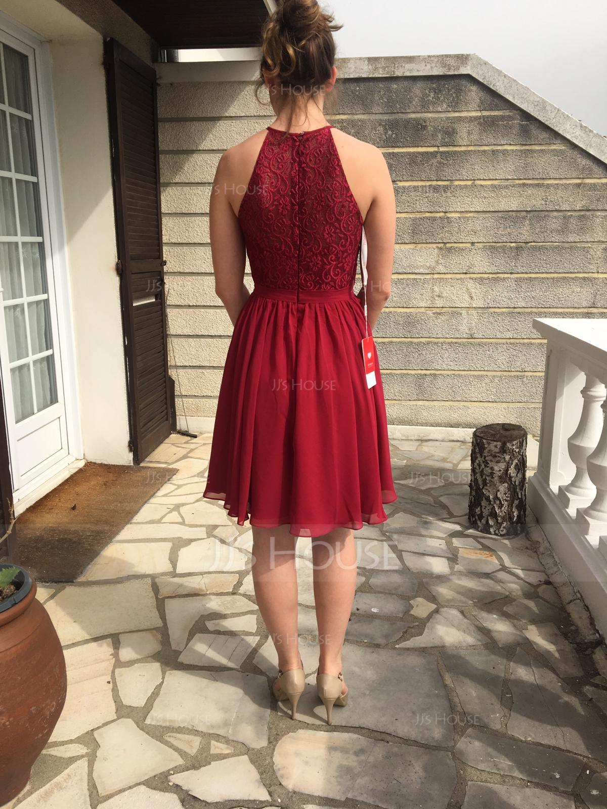 A-Line Scoop Neck Knee-Length Chiffon Lace Bridesmaid Dress (007104744)