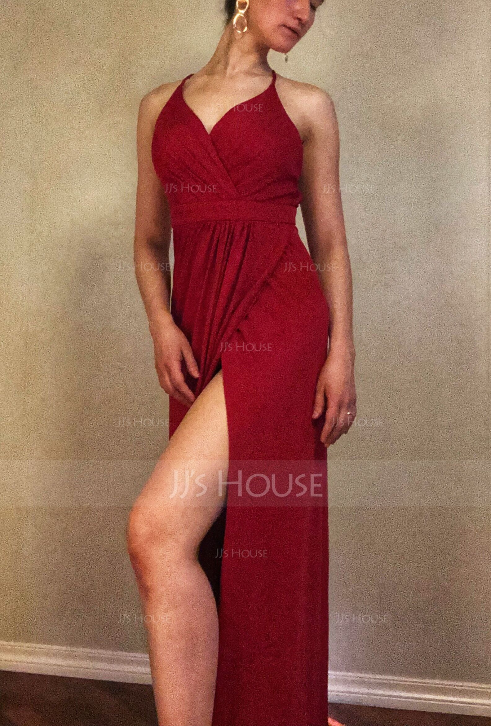 Sheath/Column V-neck Floor-Length Jersey Prom Dresses With Ruffle (018138543)