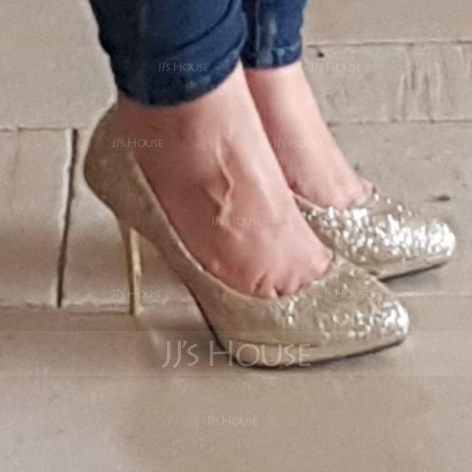 Women's Leatherette Stiletto Heel Platform Pumps With Sequin (047187872)