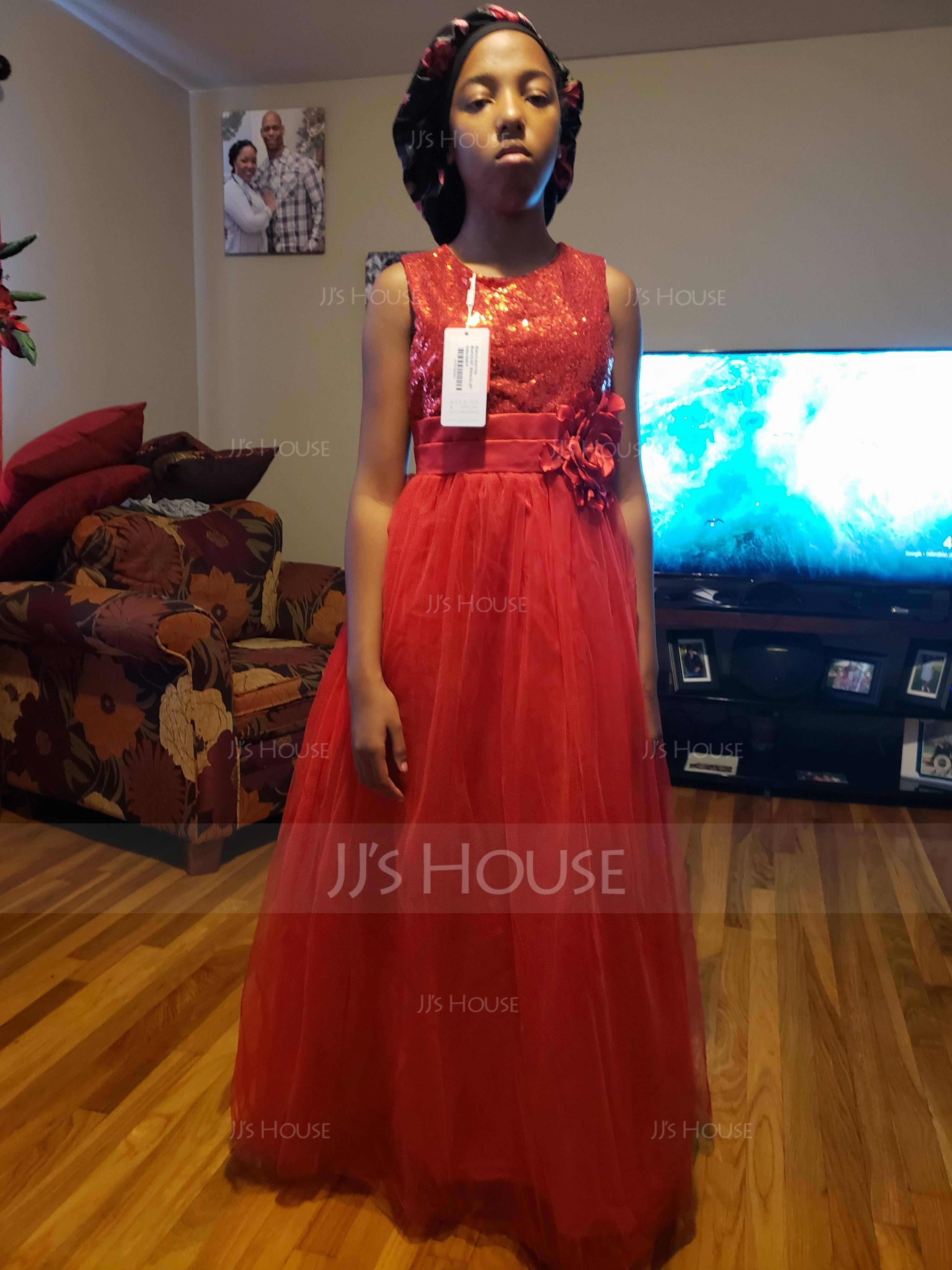 Ball Gown Floor-length Flower Girl Dress - Tulle/Sequined Sleeveless Scoop Neck With Flower(s) (010093750)