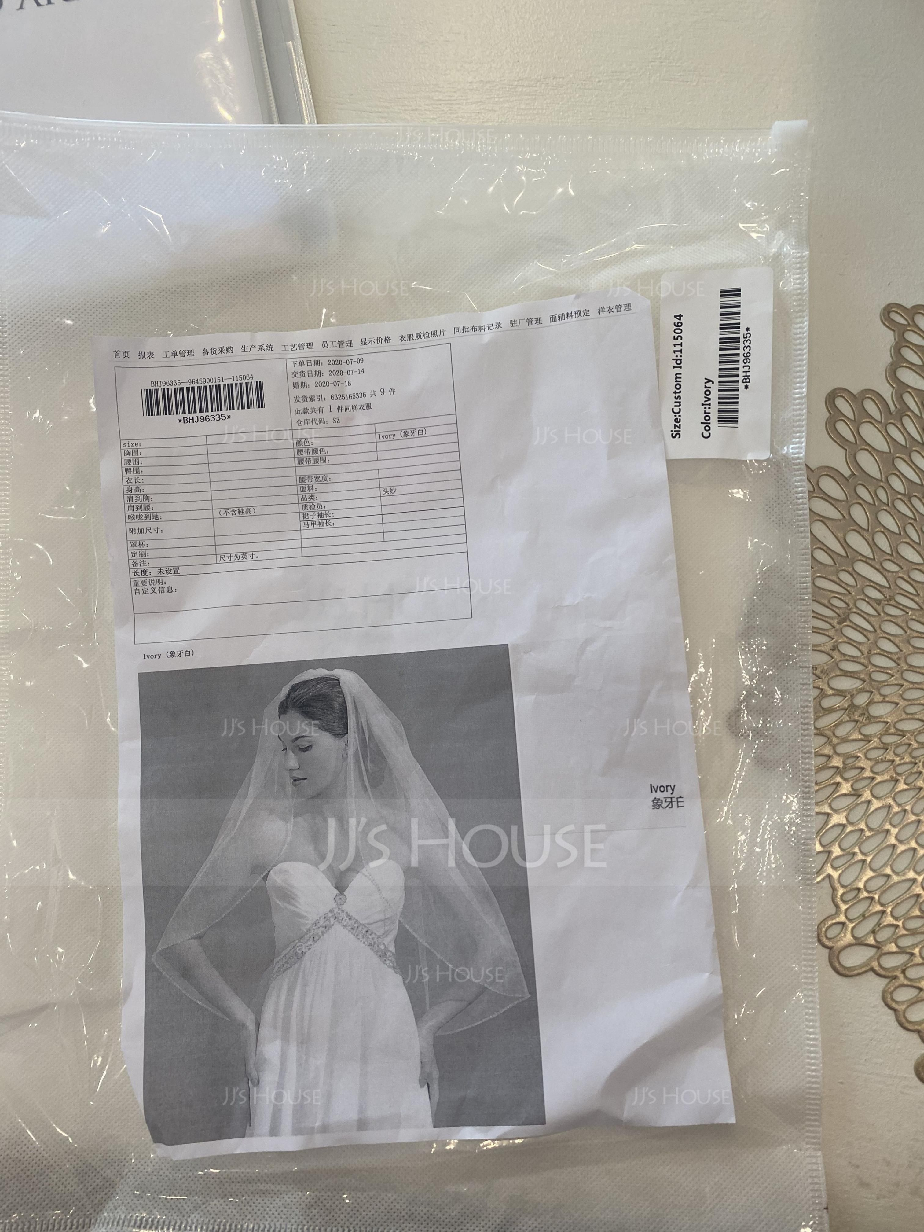 Two-tier Beaded Edge Fingertip Bridal Veils With Beading (006076541)