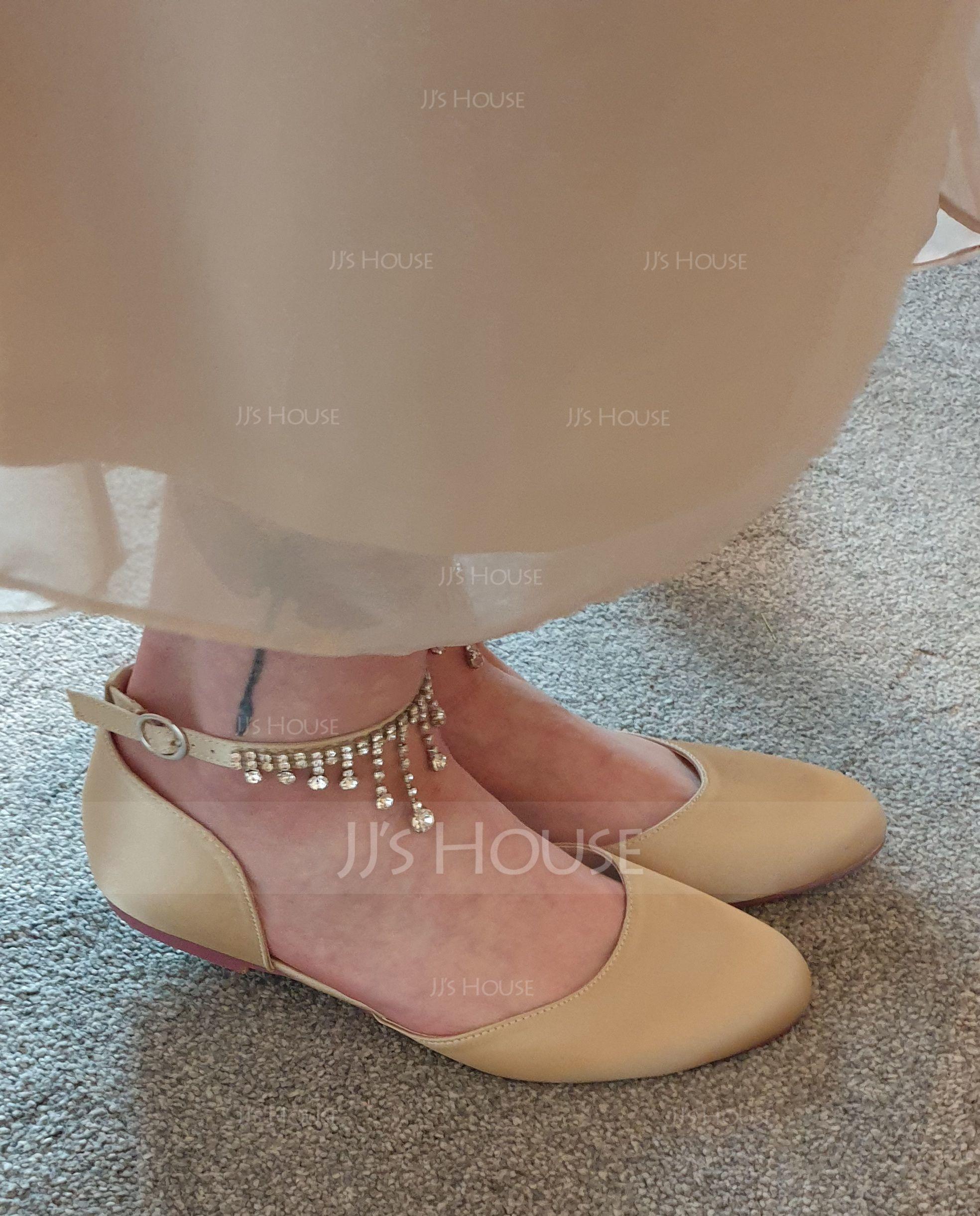 Women's Silk Like Satin Flat Heel Flats With Buckle Rhinestone (273194894)