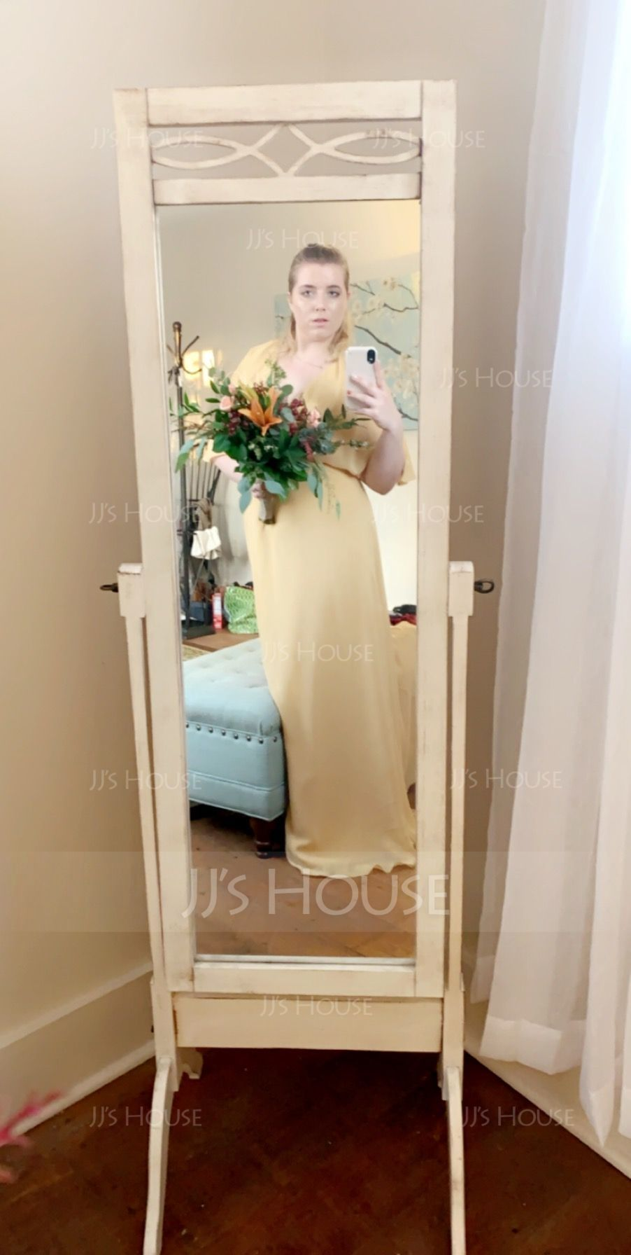 A-Line V-neck Floor-Length Chiffon Bridesmaid Dress With Bow(s) Split Front (007126426)