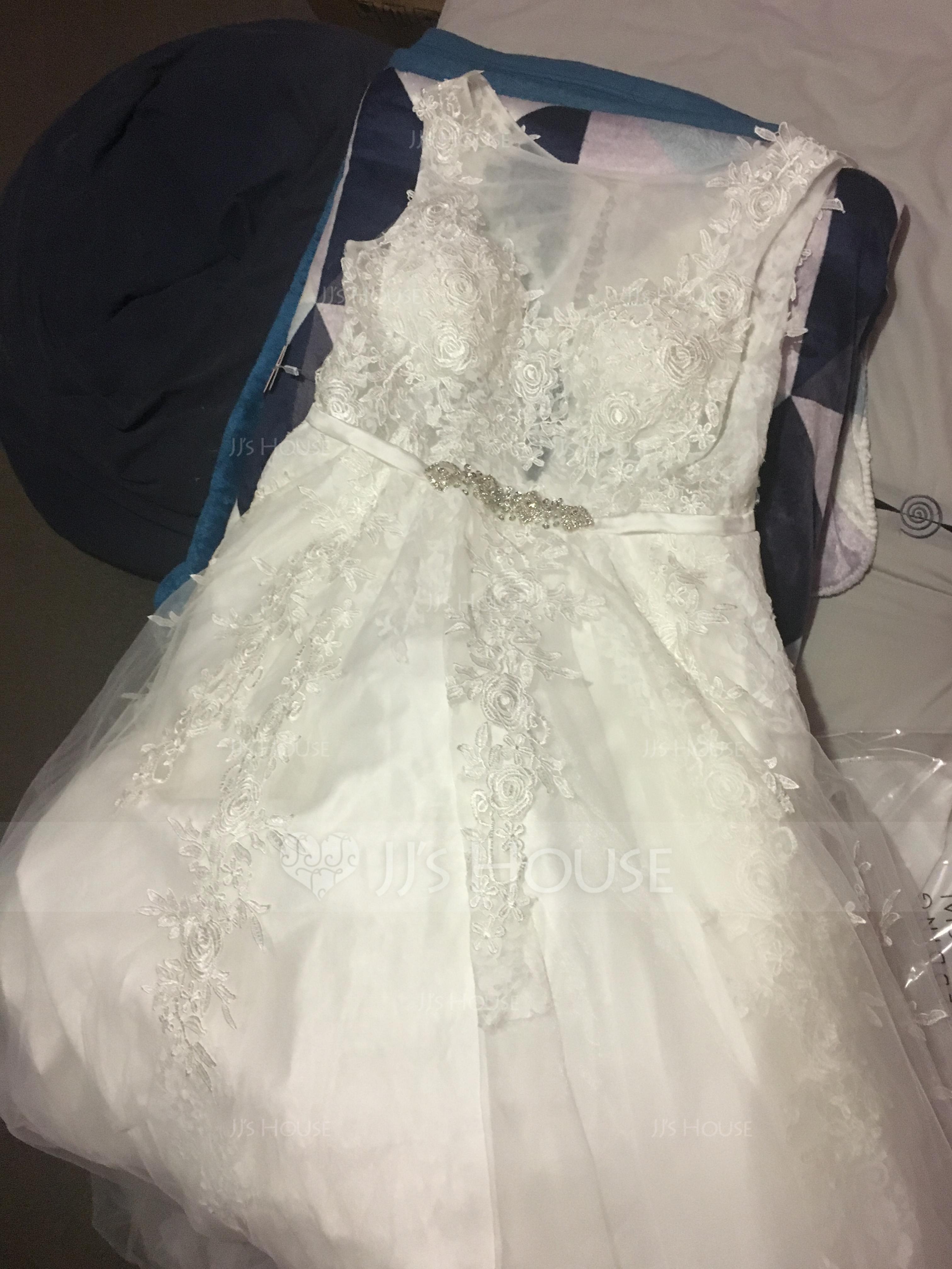 Duchesse-Linie U-Ausschnitt Kathedrale Schleppe Tüll Spitze Brautkleid mit Perlstickerei Taschen (002107826)