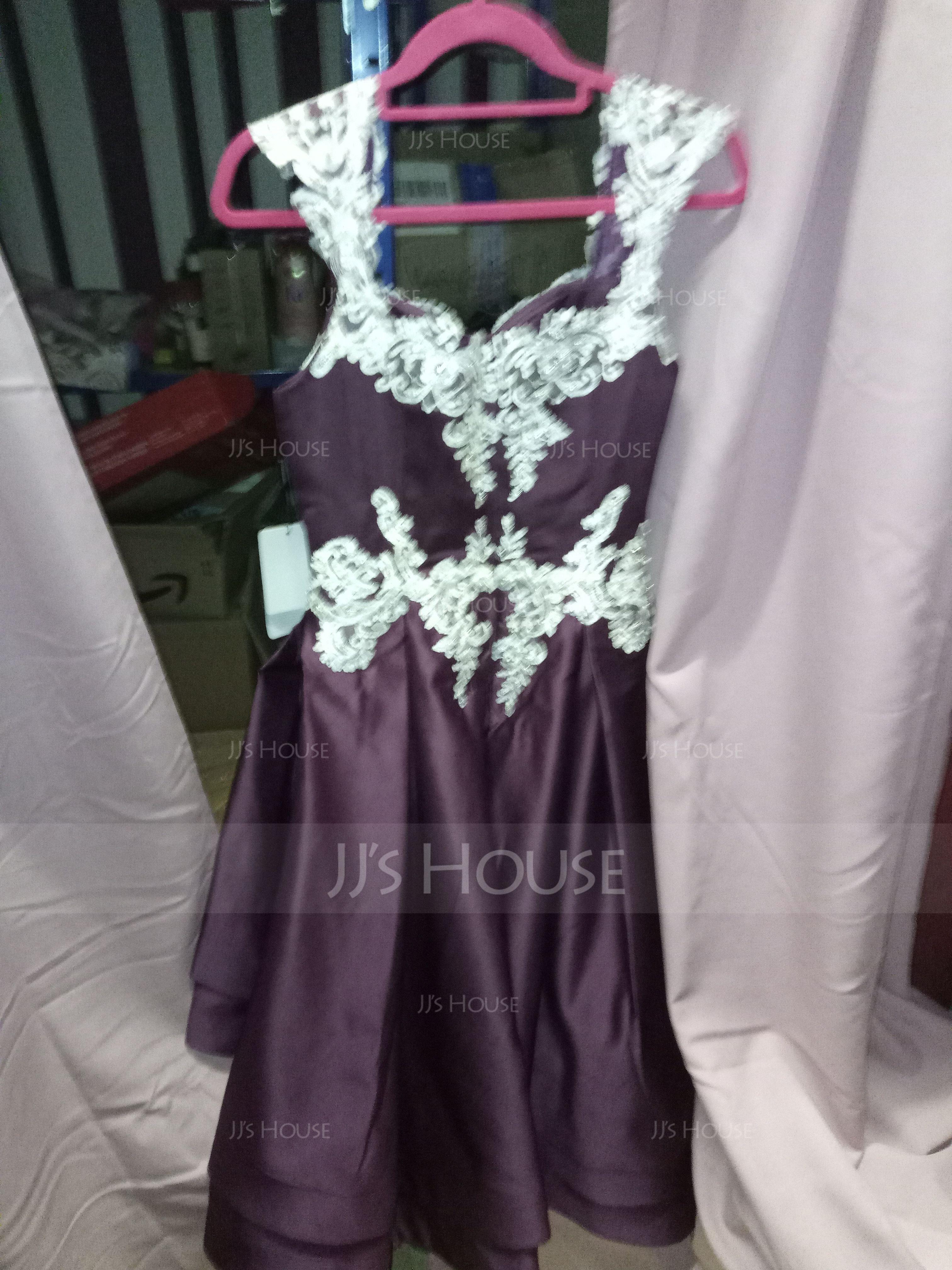 Aライン 恋人 非対称 サテン プロム用ドレス とともに レース ビーズ カスケードフリル