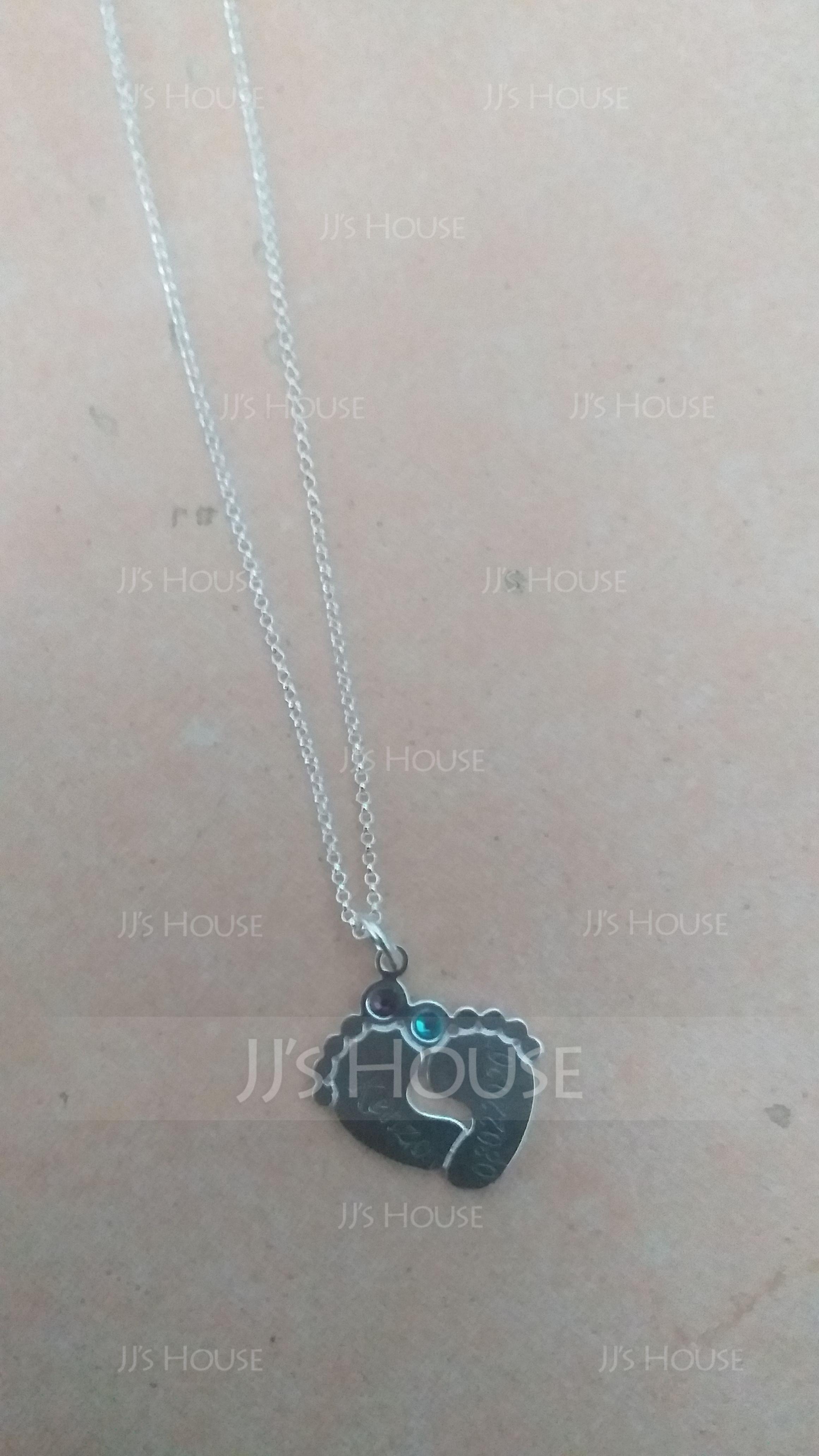 Yksilöllinen hopea Vauvan Jalat Kaiverrettu kaulakoru Nimikyltti jossa Birthstone - Syntymäpäivälahjat Äitienpäivälahjat