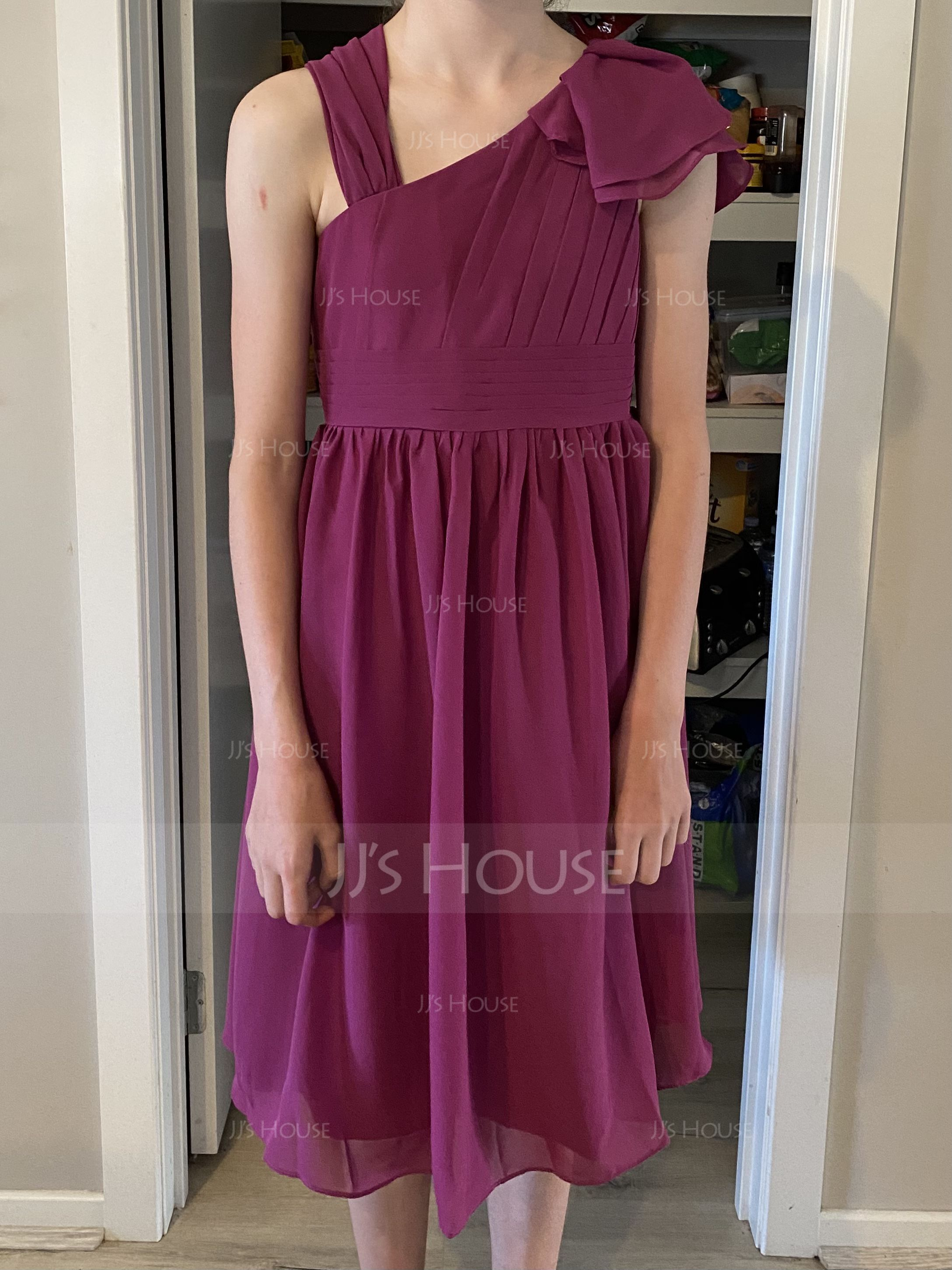 A-Line V-neck Knee-Length Chiffon Junior Bridesmaid Dress With Cascading Ruffles
