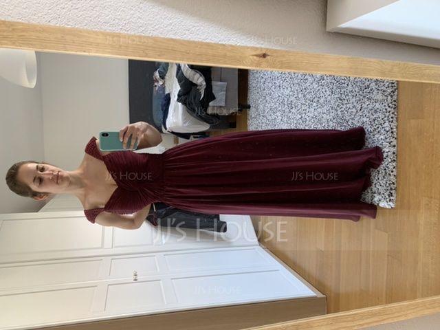 A-linjainen/Prinsessa Kultaseni Lattiaa hipova pituus Sifonki Morsiusneitojen mekko jossa Rypytys Helmikoristelu Paljetit (007016866)
