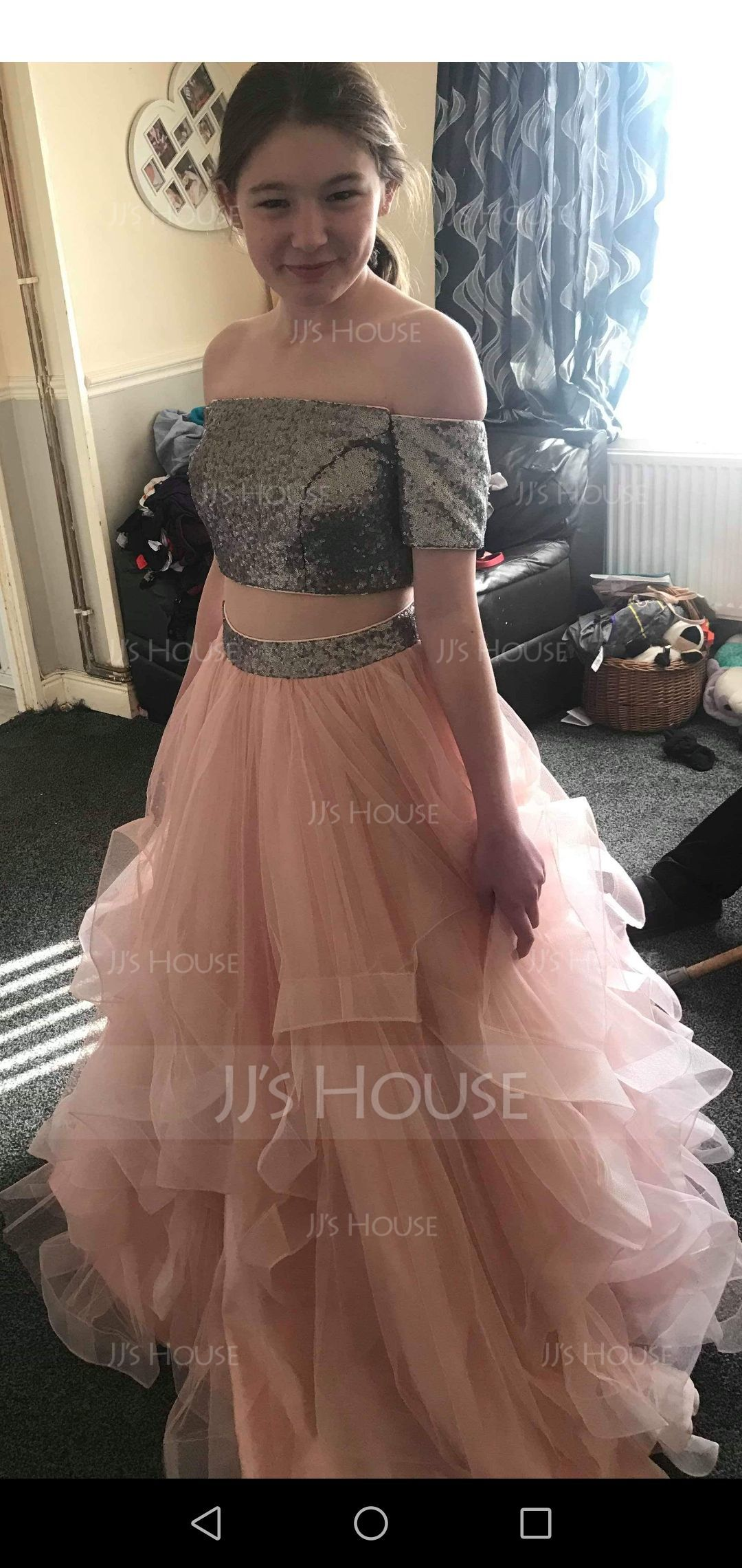 Ball-Gown Off-the-Shoulder Floor-Length Tulle Prom Dresses (018146355)