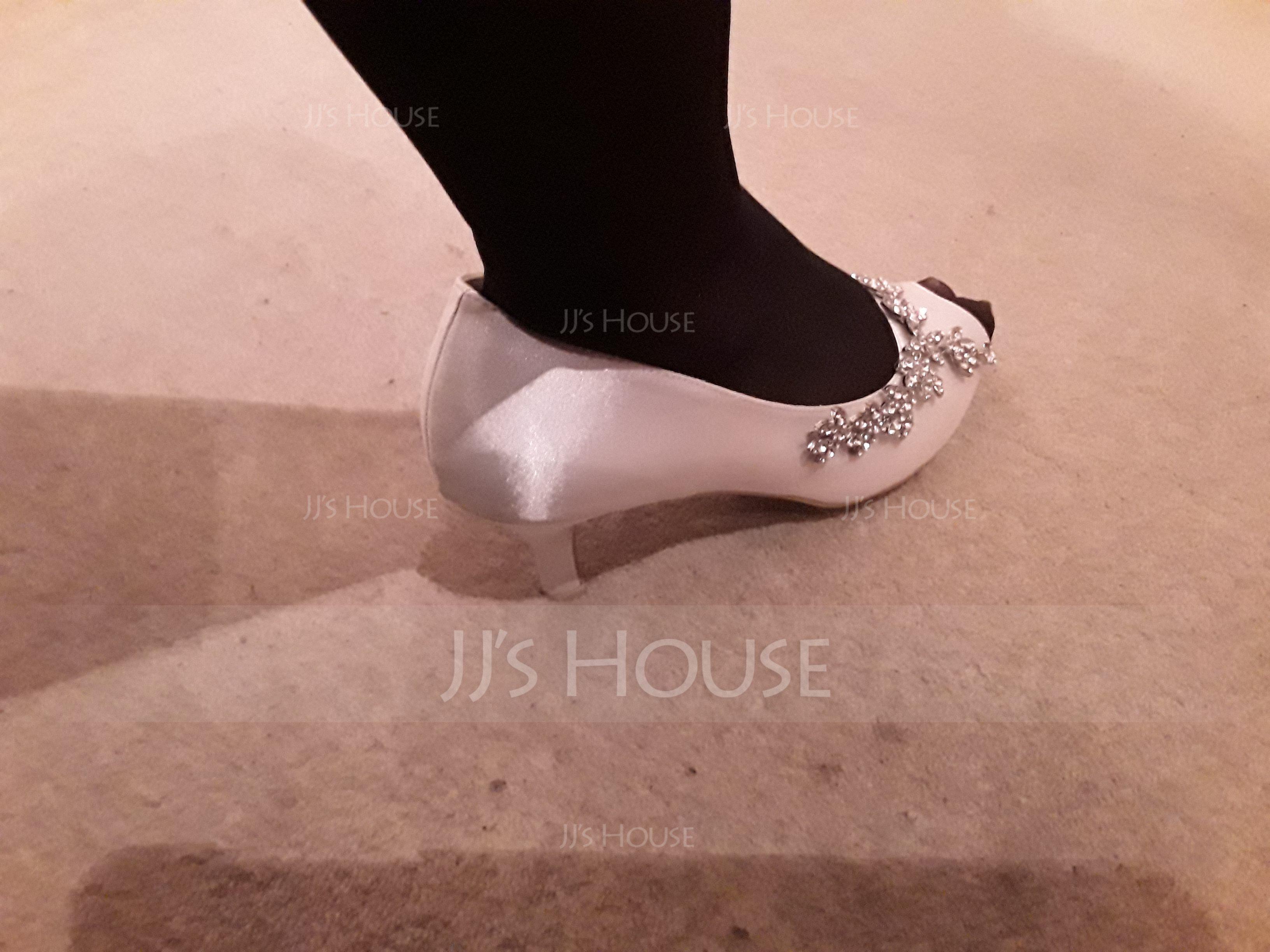 Women's Silk Like Satin Stiletto Heel Peep Toe Pumps With Rhinestone (047195491)