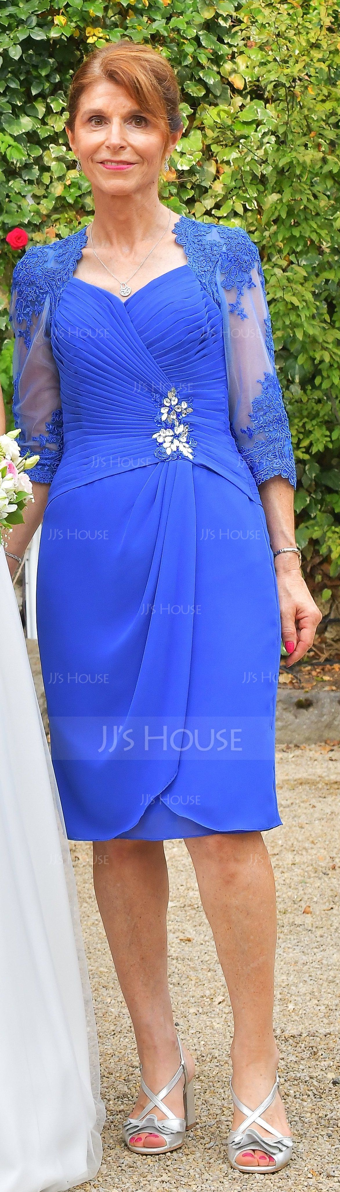 Sheath/Column Knee-Length Chiffon Mother of the Bride Dress With Ruffle Beading Appliques Lace Sequins (008102674)