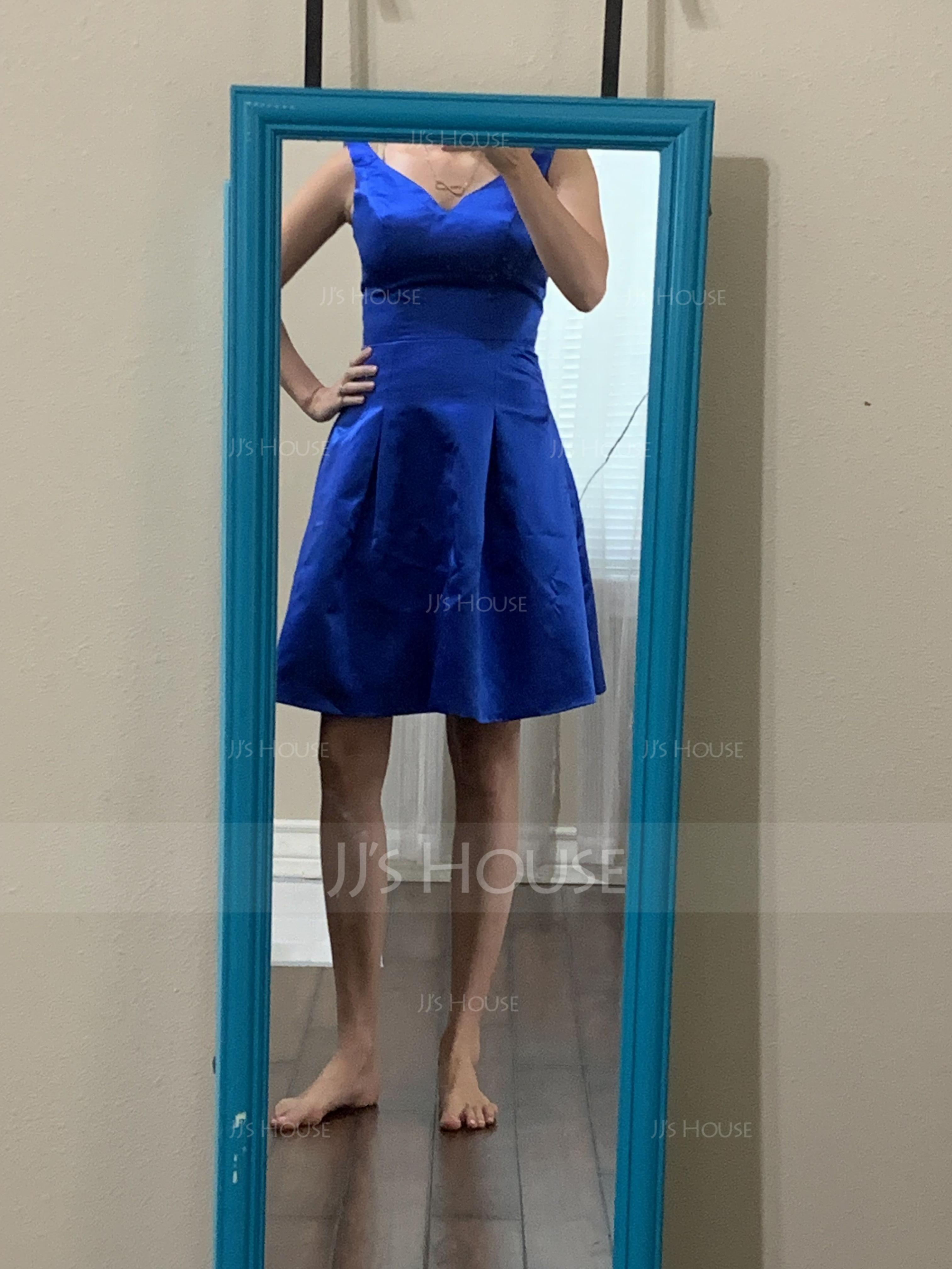 A-Line V-neck Knee-Length Satin Bridesmaid Dress (007060614)