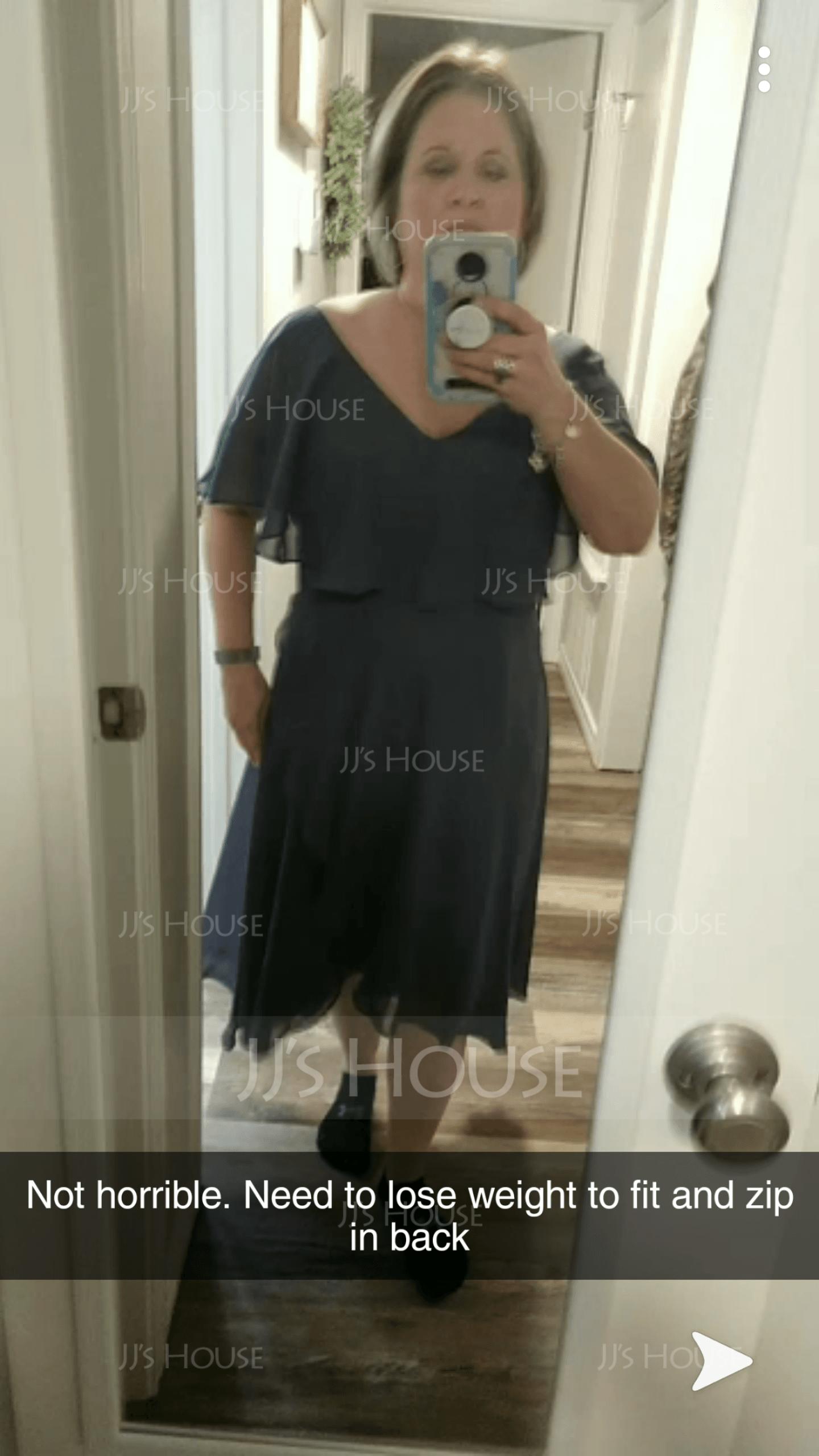 Coupe Évasée Col V Asymétrique Mousseline Robe de demoiselle d'honneur avec À ruban(s) Robe à volants (007224077)
