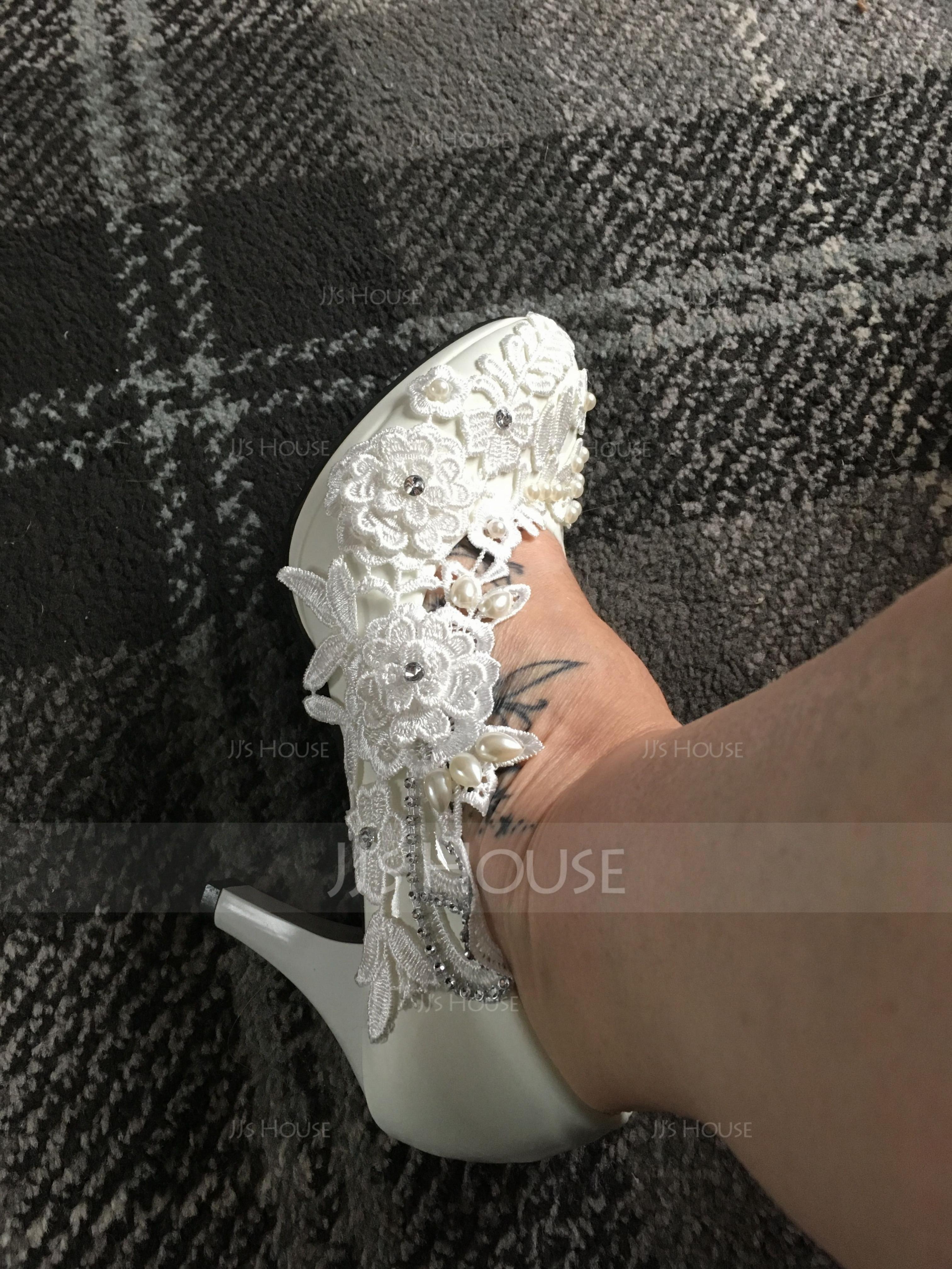 Femmes Similicuir Talon stiletto Bout fermé Escarpins avec Brodé Couture dentelle (047153508)