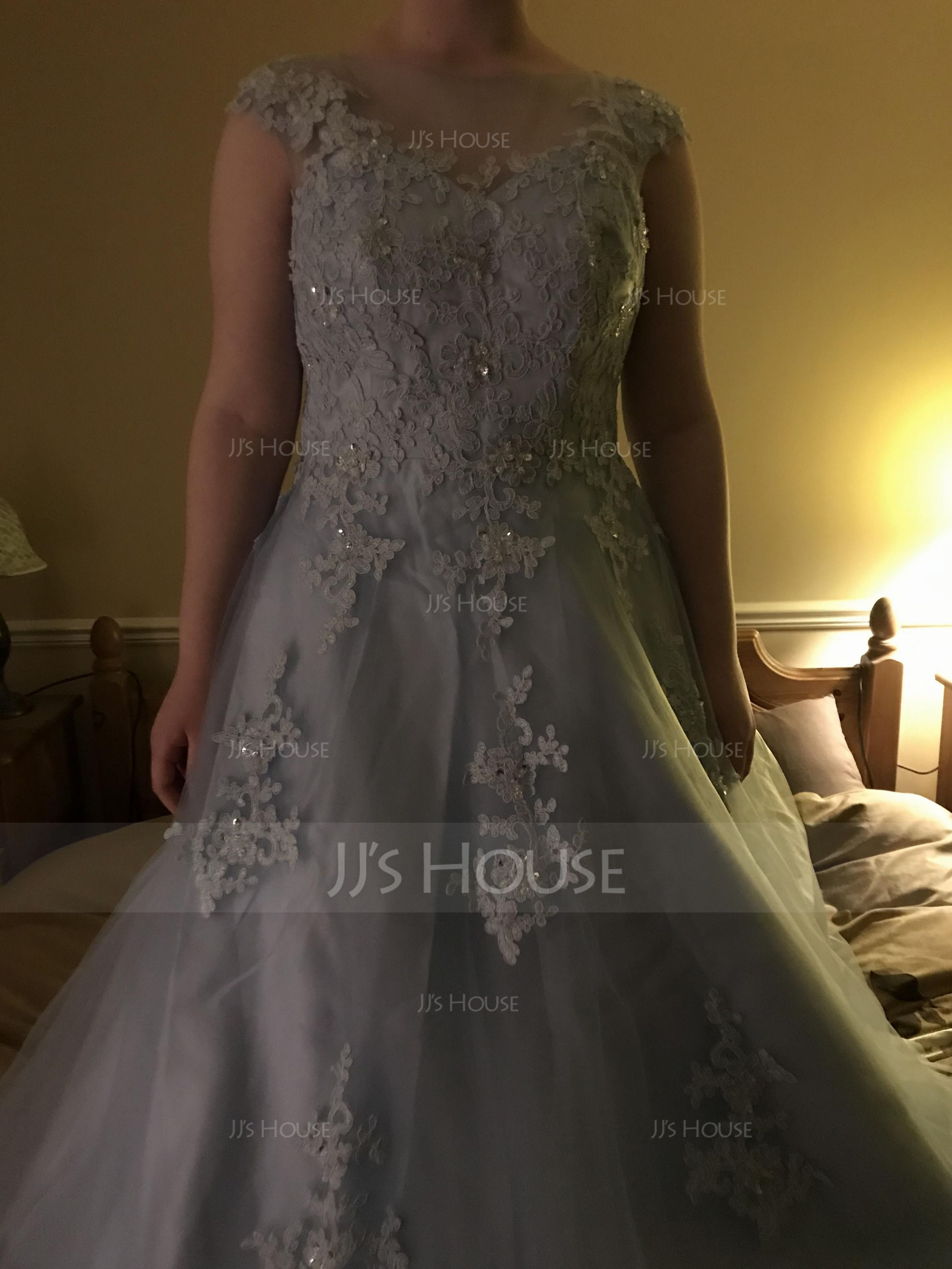 Ball-Gown Scoop Neck Floor-Length Tulle Prom Dresses With Beading Appliques Lace Sequins (018059416)