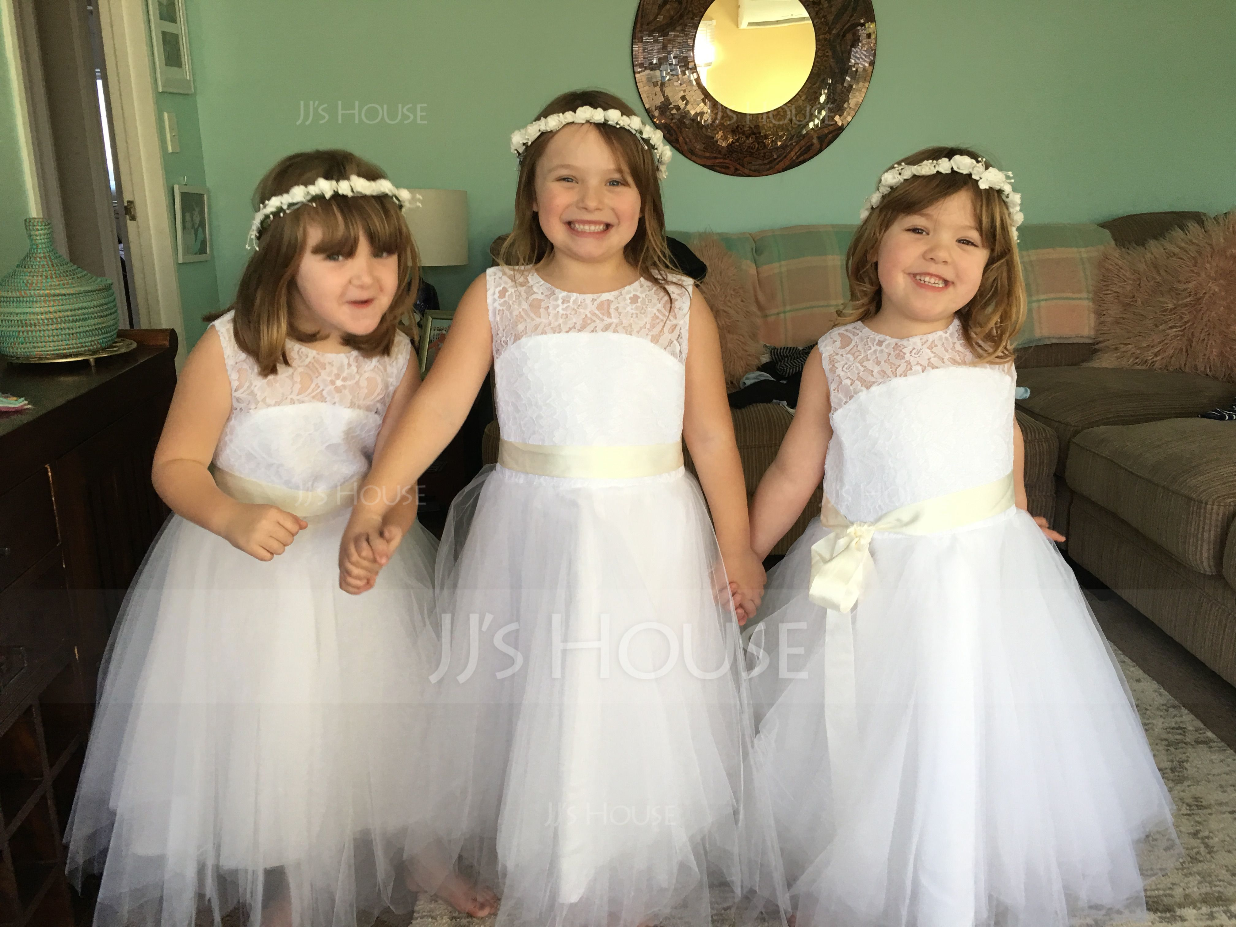 Forme Princesse Longueur mollet Robes à Fleurs pour Filles - Satiné/Tulle/Dentelle Sans manches Col rond avec Ceintures/À ruban(s)/Trou noir (010091711)