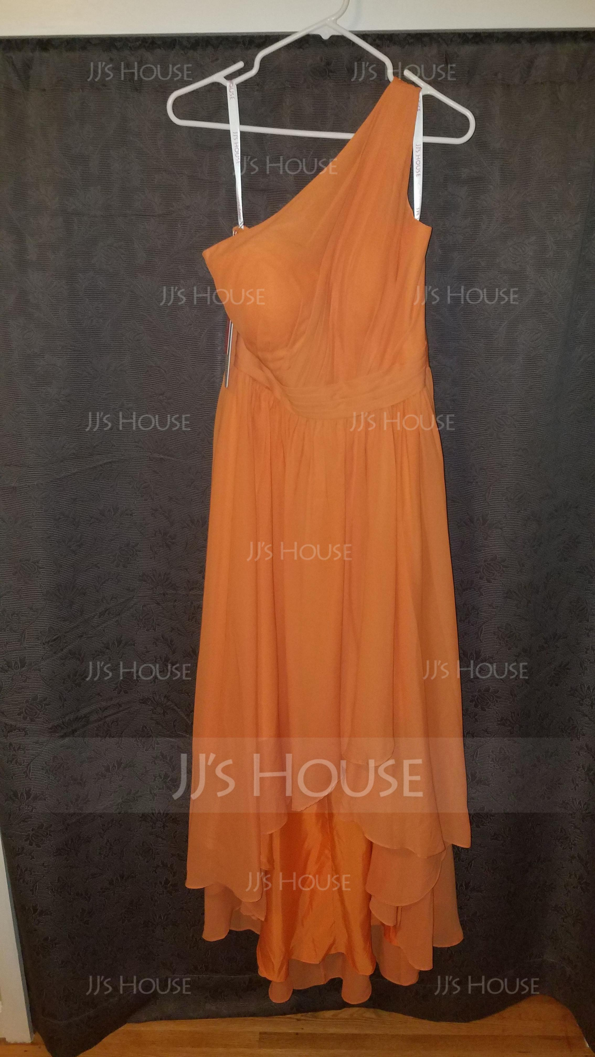 A-Line/Princess One-Shoulder Asymmetrical Chiffon Bridesmaid Dress With Cascading Ruffles (266177101)