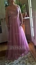 A-Line/Princess Scoop Neck Floor-Length Tulle Bridesmaid Dress With Ruffle (007090189)