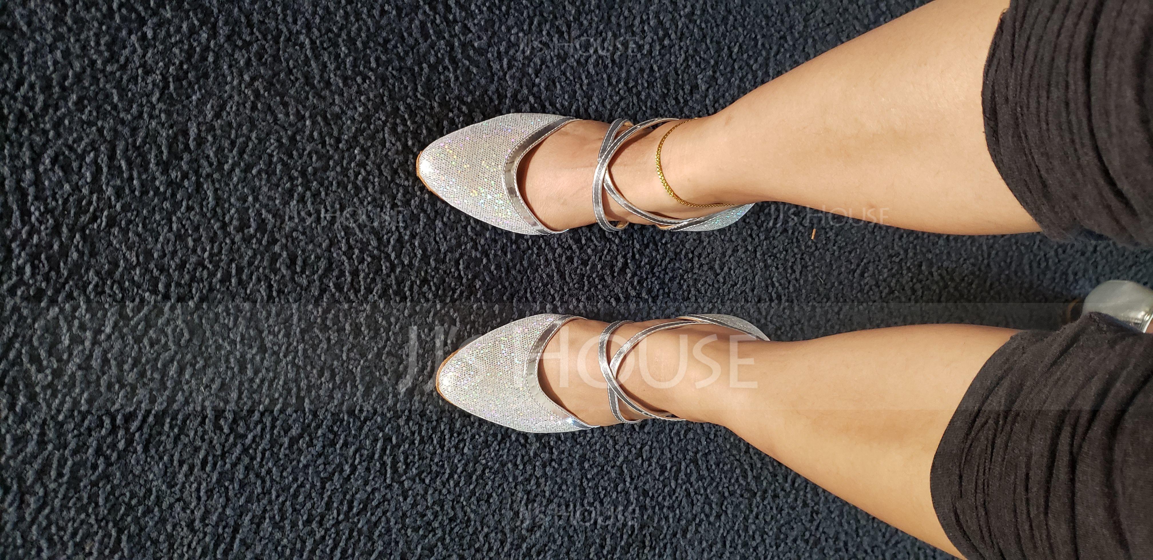 Women's Sparkling Glitter Heels Pumps Ballroom Dance Shoes (053064670)