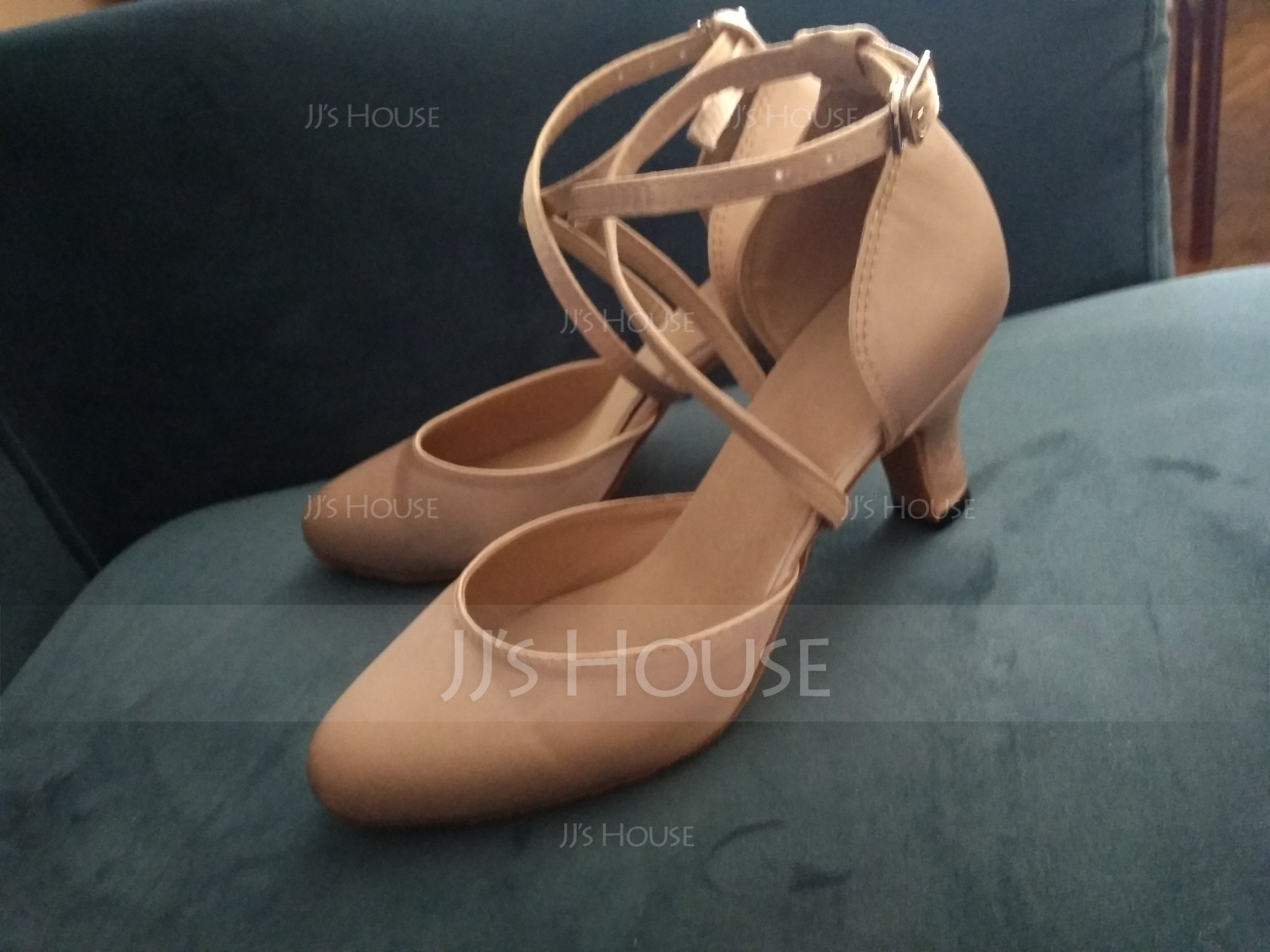 Women's Satin Heels Pumps Ballroom With Ankle Strap Dance Shoes (053090339)
