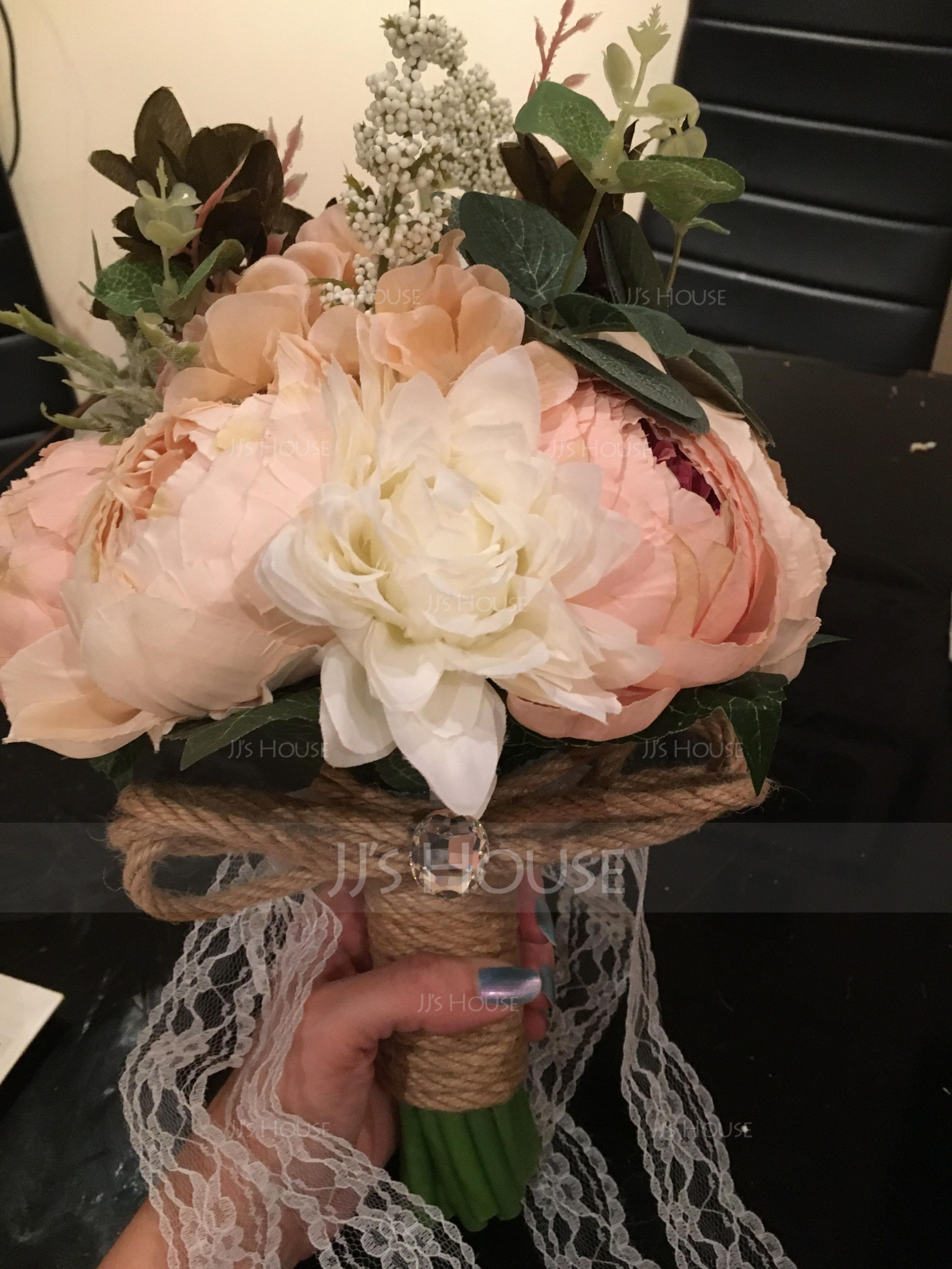Classic Round Satin Bridal Bouquets/Bridesmaid Bouquets (Sold in a single piece) - Bridal Bouquets (123169522)