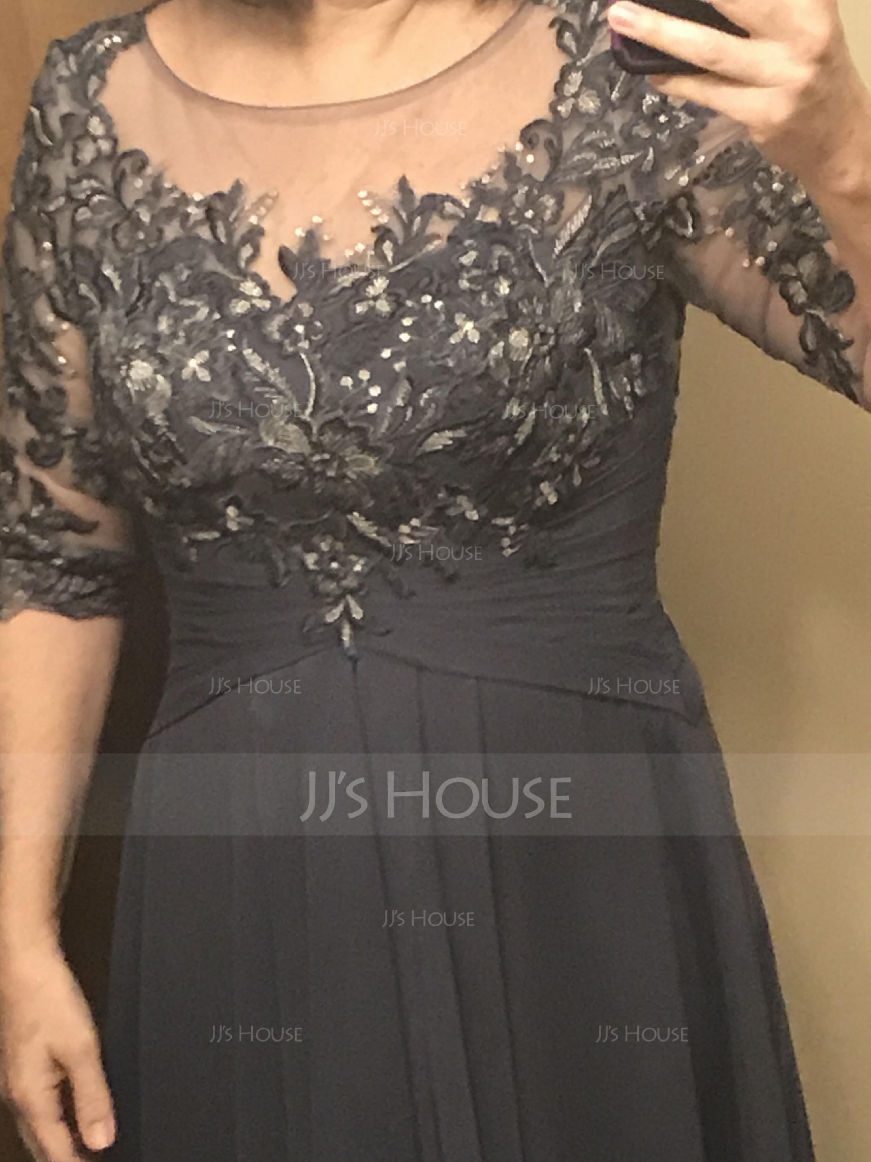 A-Linie U-Ausschnitt Bodenlang Chiffon Spitze Kleid für die Brautmutter mit Gestufte Rüschen (008179222)