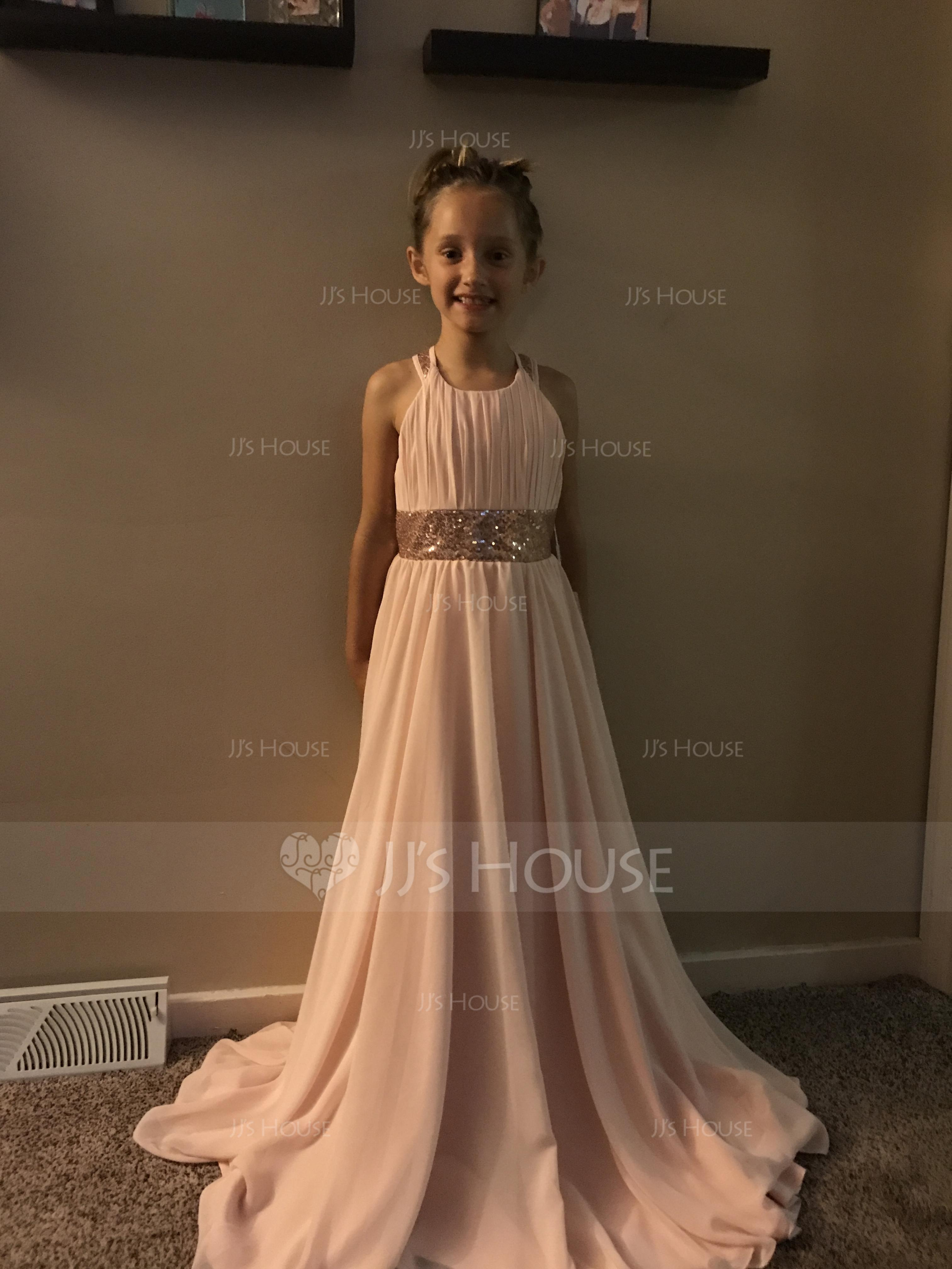 A-Linie U-Ausschnitt Bodenlang Chiffon Kleider für junge Brautjungfern (009130509)