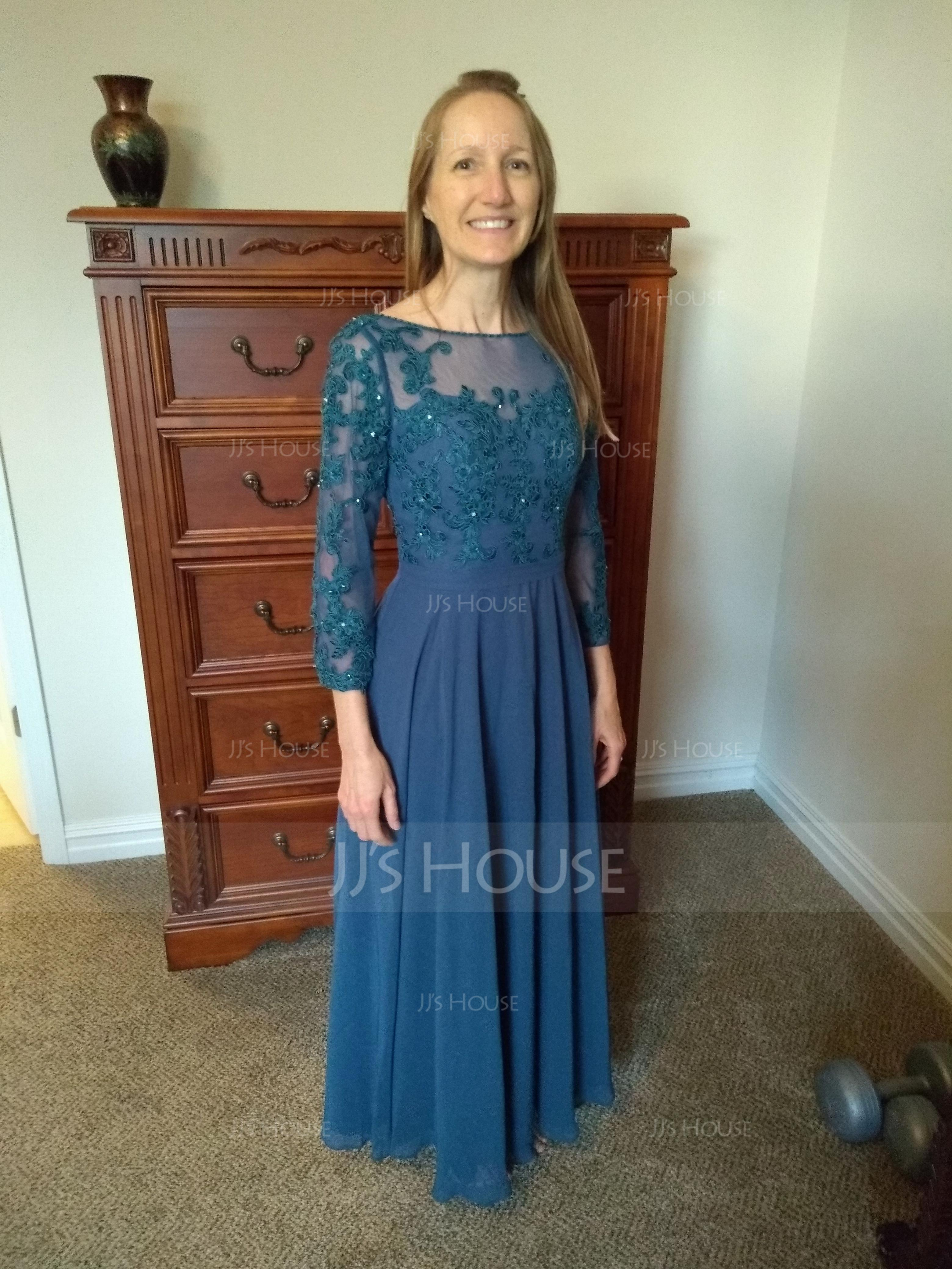 A-Line Scoop Neck Floor-Length Chiffon Mother of the Bride Dress With Beading Sequins (008091949)