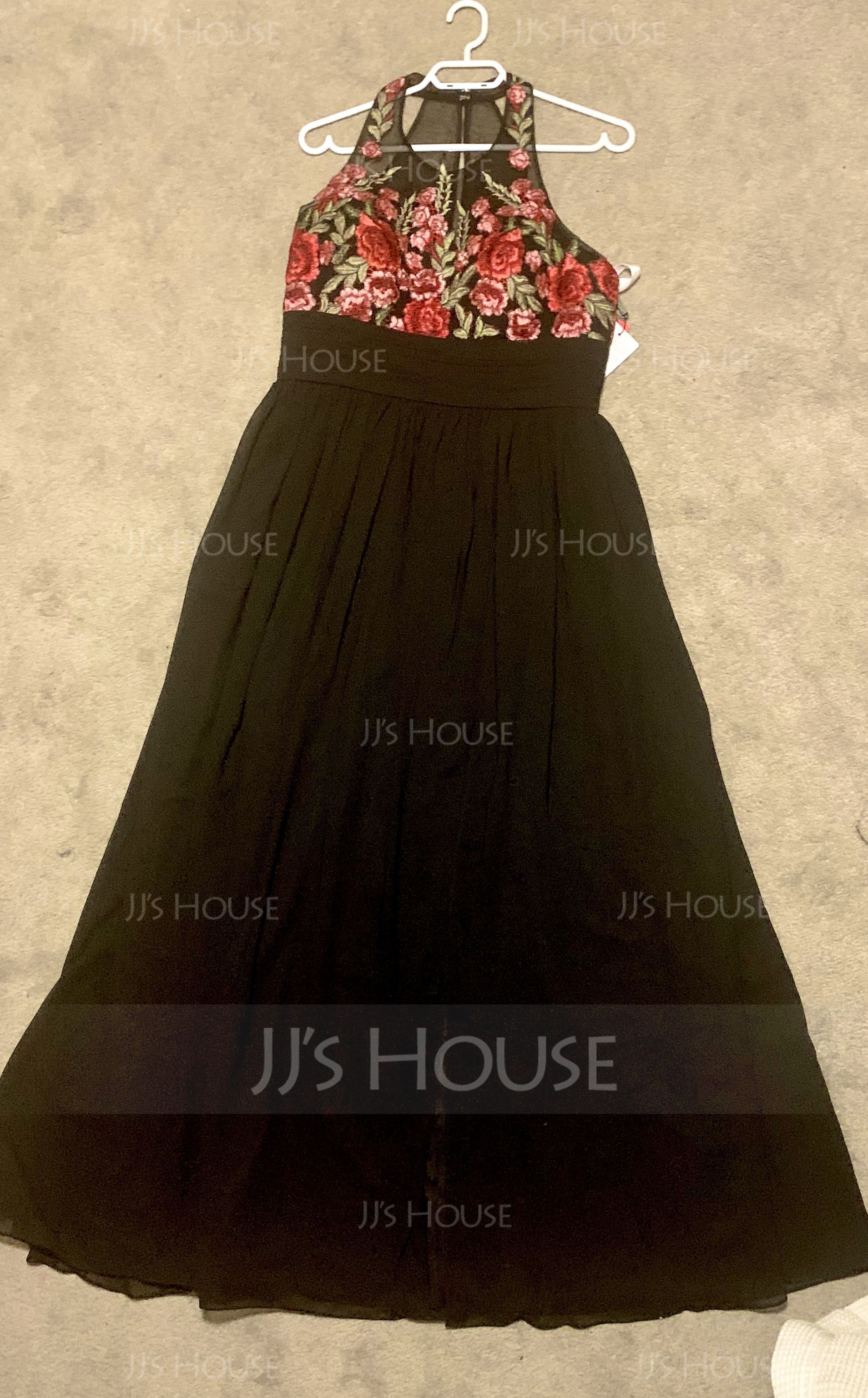 A-Line/Princess Scoop Neck Floor-Length Chiffon Evening Dress With Ruffle Split Front (017126613)