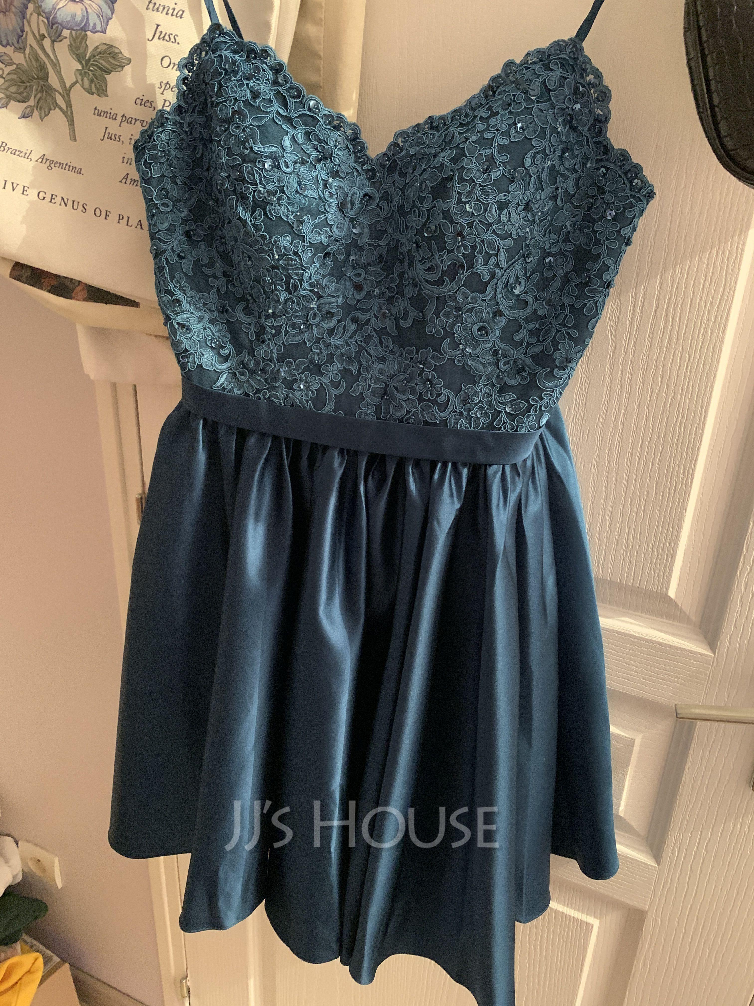 V-neck Short/Mini Satin Prom Dresses With Beading Sequins (272236868)