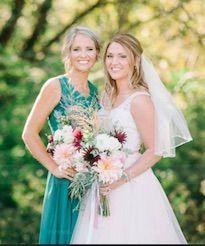 A-Line V-neck Floor-length Chiffon Lace Overlay Bridesmaid Dress