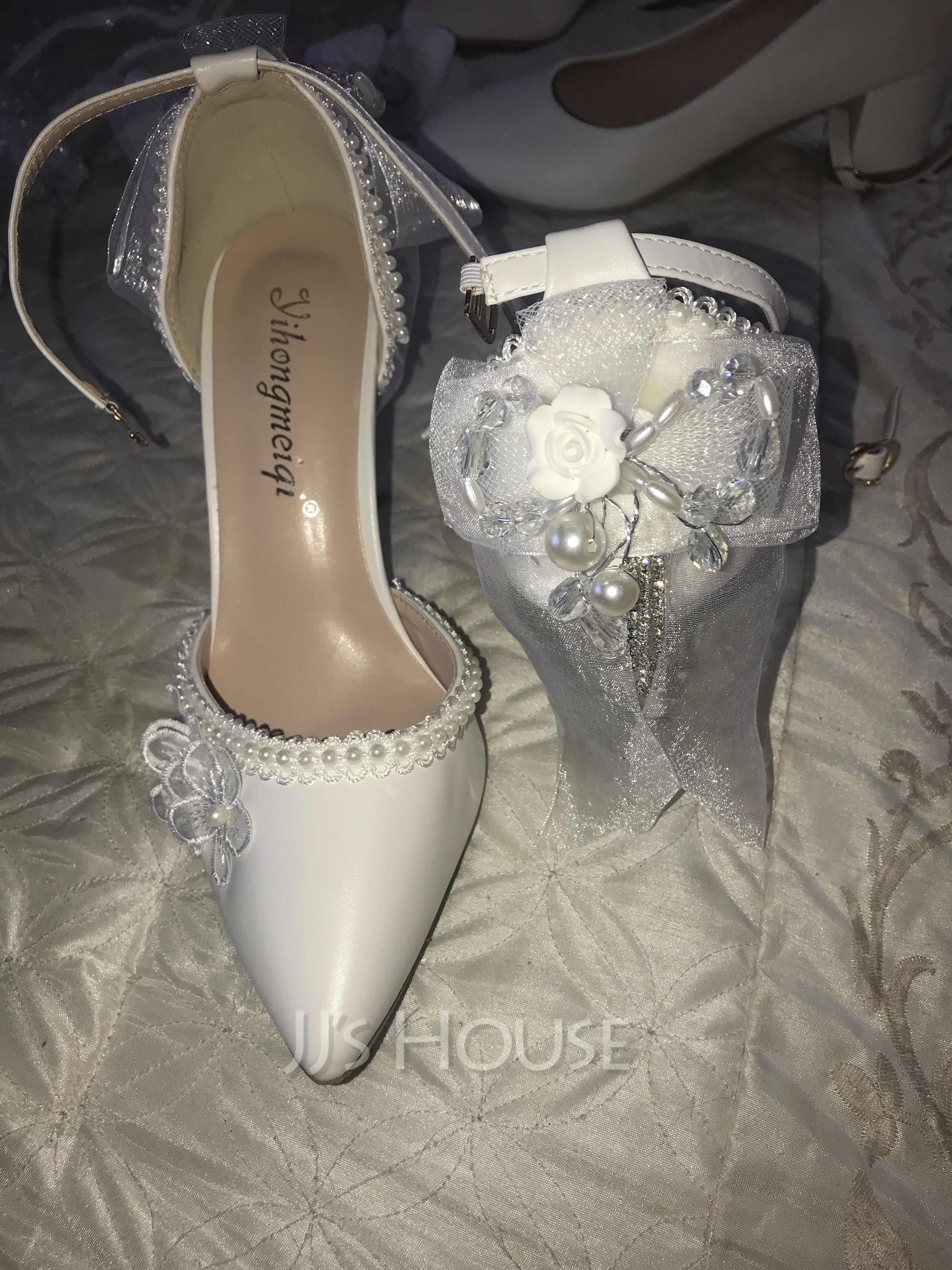 Women's Leatherette Stiletto Heel Closed Toe With Applique Pearl