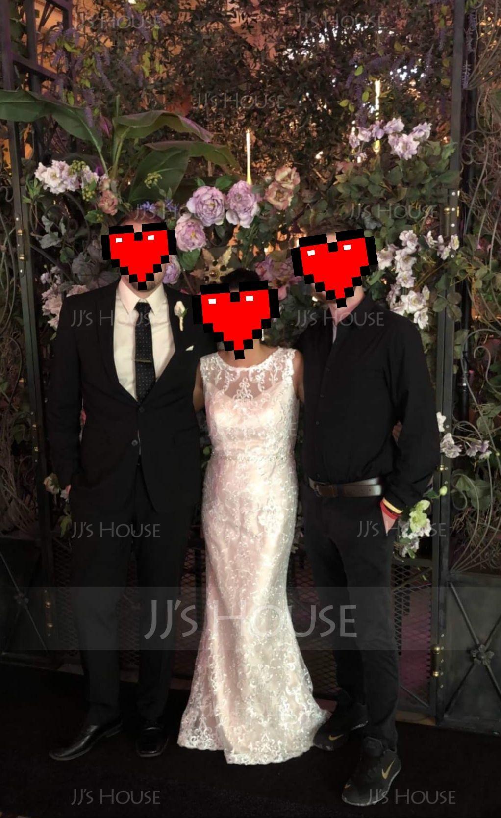 Sheath/Column Scoop Neck Floor-Length Lace Wedding Dress With Beading (002118443)