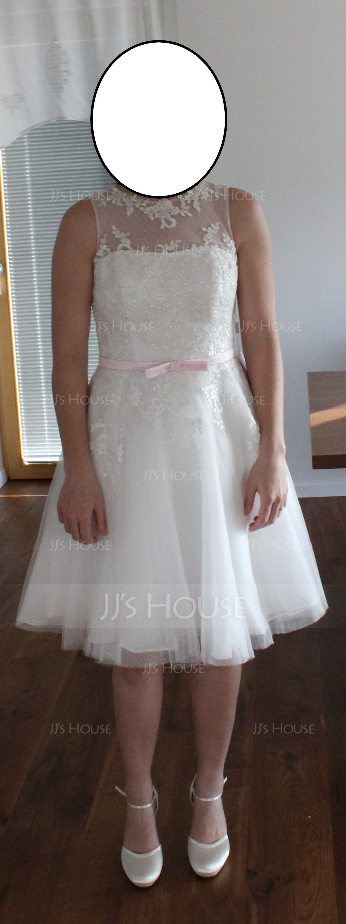 A-Line Illusion Knee-Length Lace Wedding Dress With Sash Bow(s) (002056489)