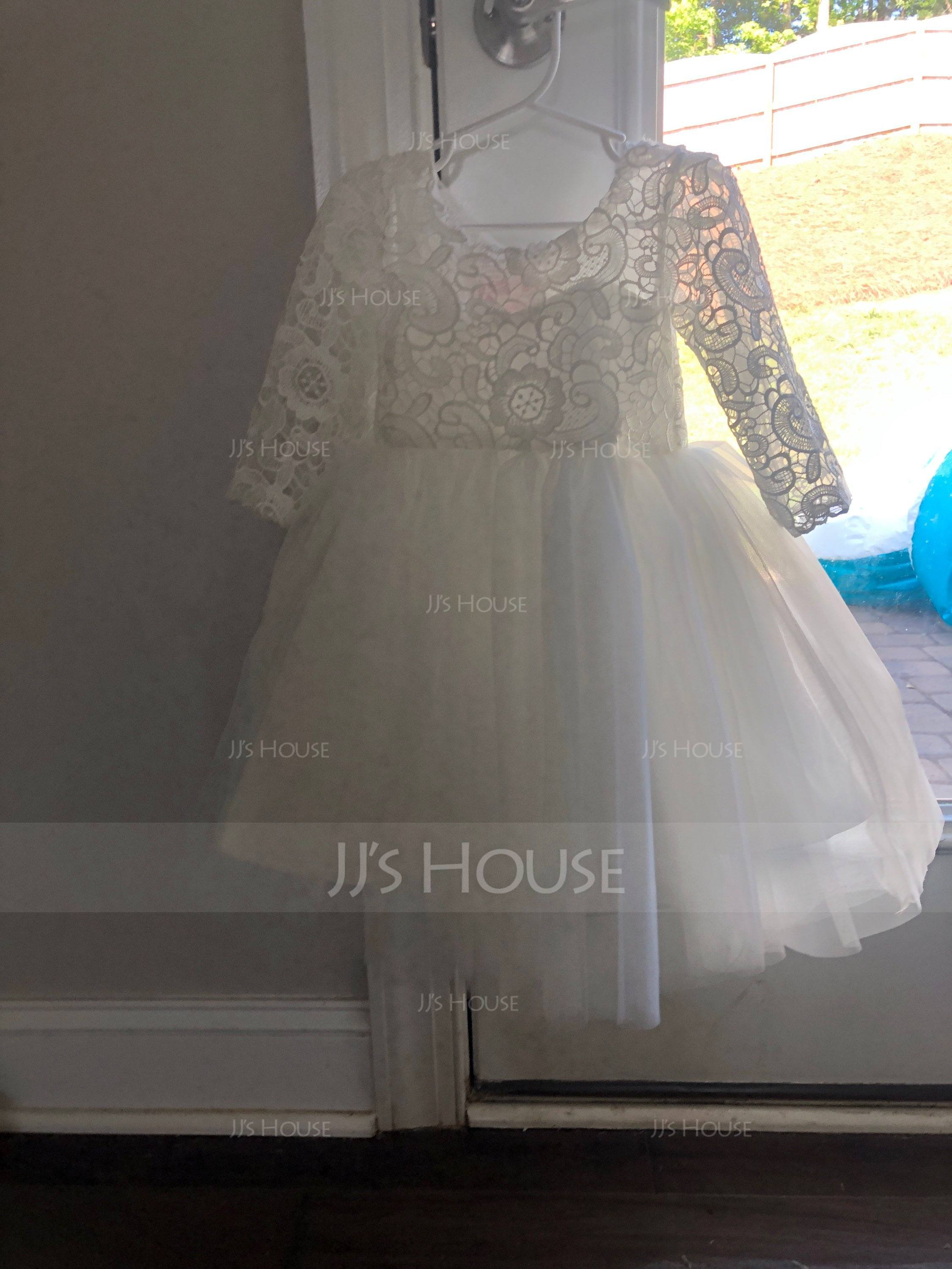 A-Line/Princess Knee-length Flower Girl Dress - Satin/Tulle Long Sleeves Scoop Neck With Lace (010117533)