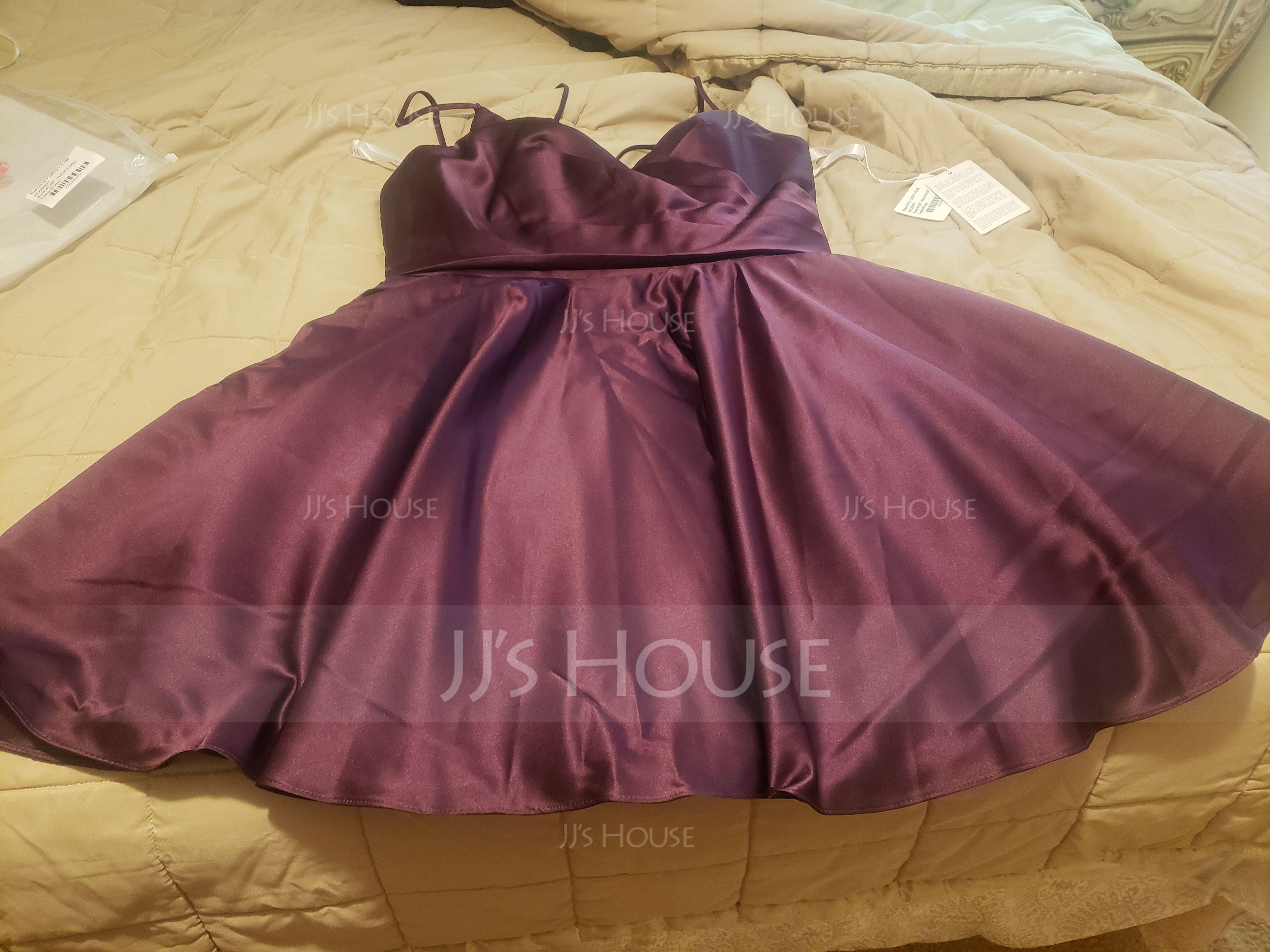 A-Line V-neck Short/Mini Satin Prom Dresses With Ruffle Pockets (272235507)