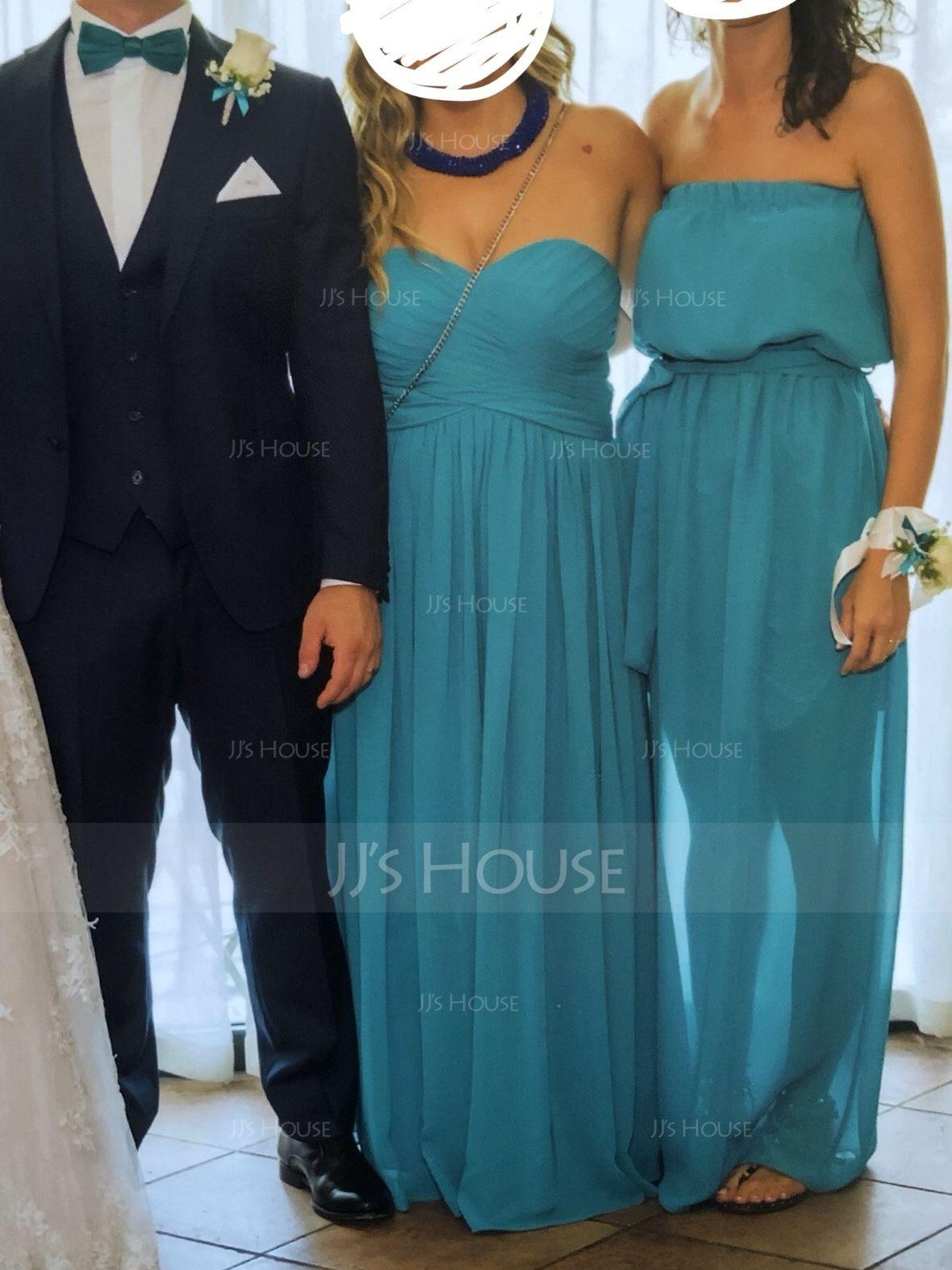 Chiffon Floor-length Empire Bridesmaid Dress with Sweetheart Neckline