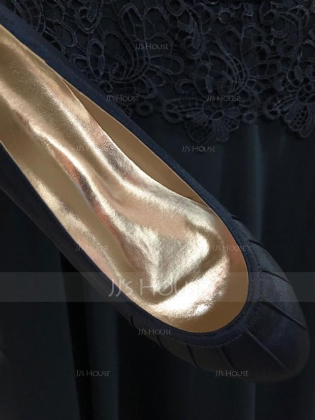 Women's Silk Like Satin Flat Heel Flats With Ruffles (047167837)