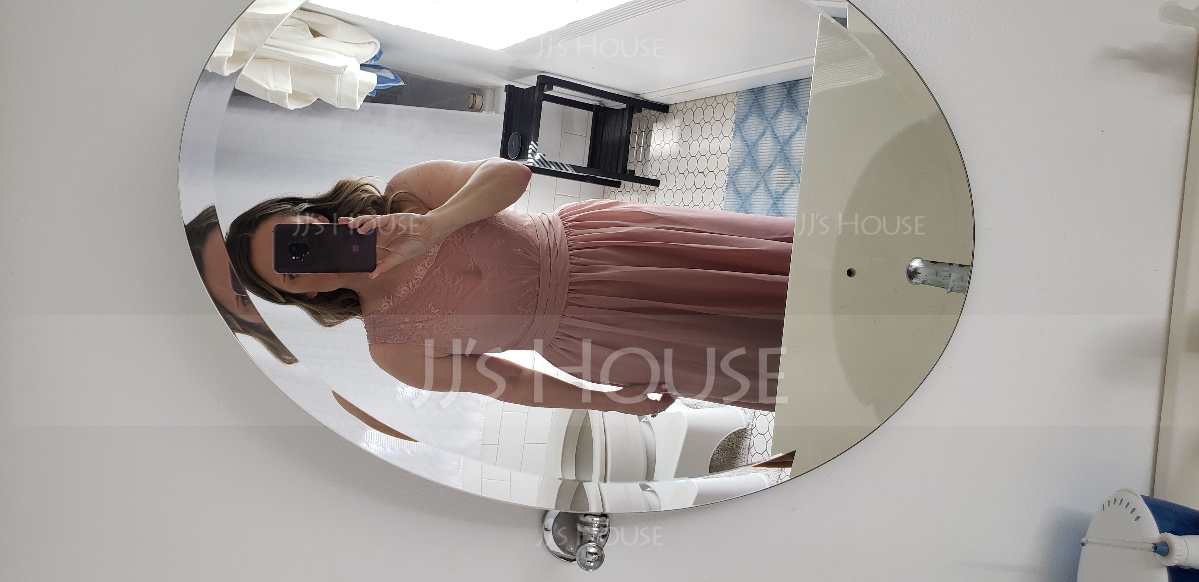 A-Line/Princess One-Shoulder Floor-Length Chiffon Lace Bridesmaid Dress With Ruffle (007116641)