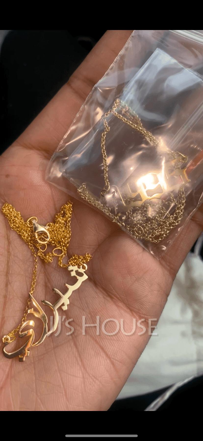 Personalized 18 k guldpläterat silver Namnhalsband Arabiska halsband - Födelsedagspresenter