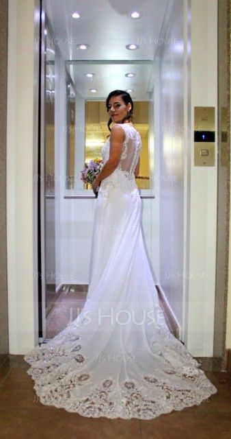 Trumpet/Mermaid Illusion Chapel Train Satin Wedding Dress With Sequins (002134404)