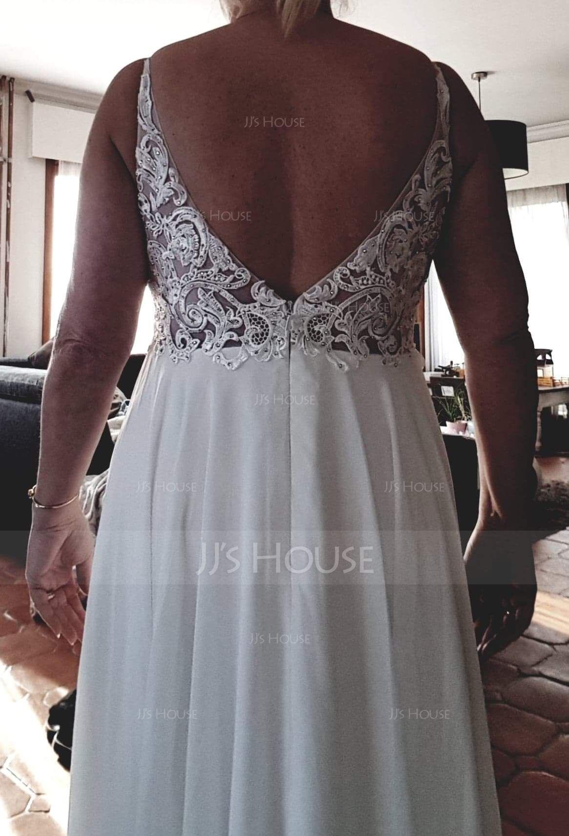 A-Line V-neck Floor-Length Chiffon Evening Dress With Beading (017167677)