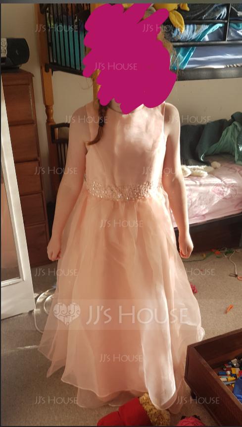 A-Linie U-Ausschnitt Knöchellang Organza Kleider für junge Brautjungfern mit Perlstickerei Pailletten (009119602)