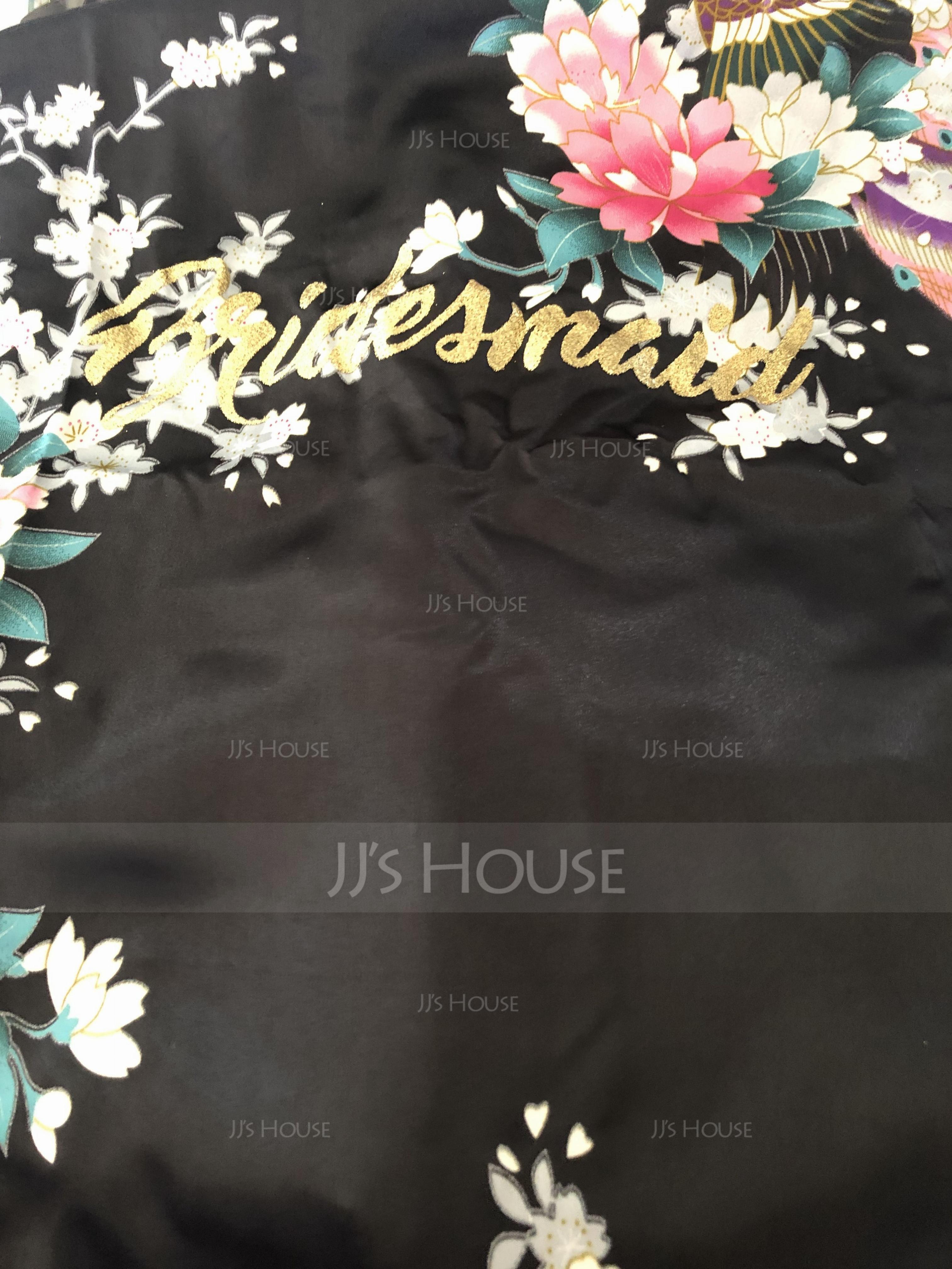 Silk Bridesmaid Floral Robes Glitter Print Robes (248176097)