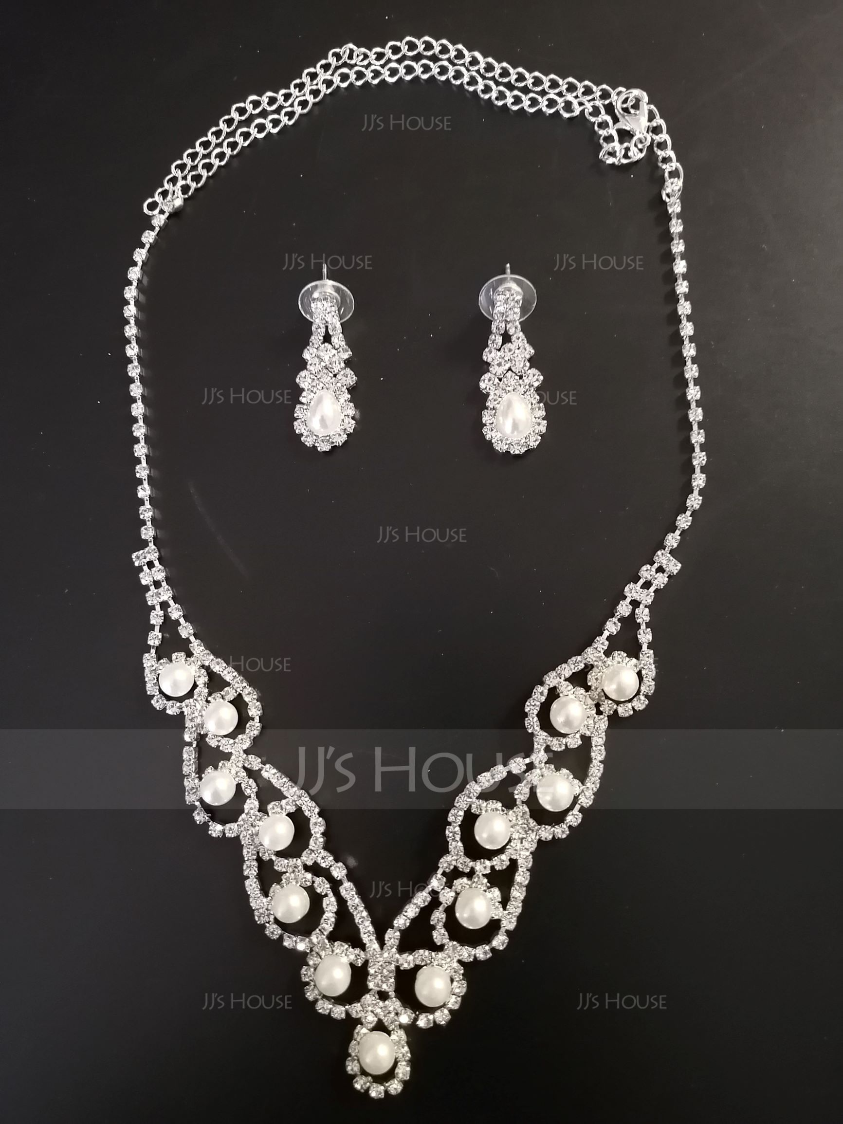 Vintage Alloy/Copper With Rhinestone/Imitation Pearls Ladies' Jewelry Sets (011171322)
