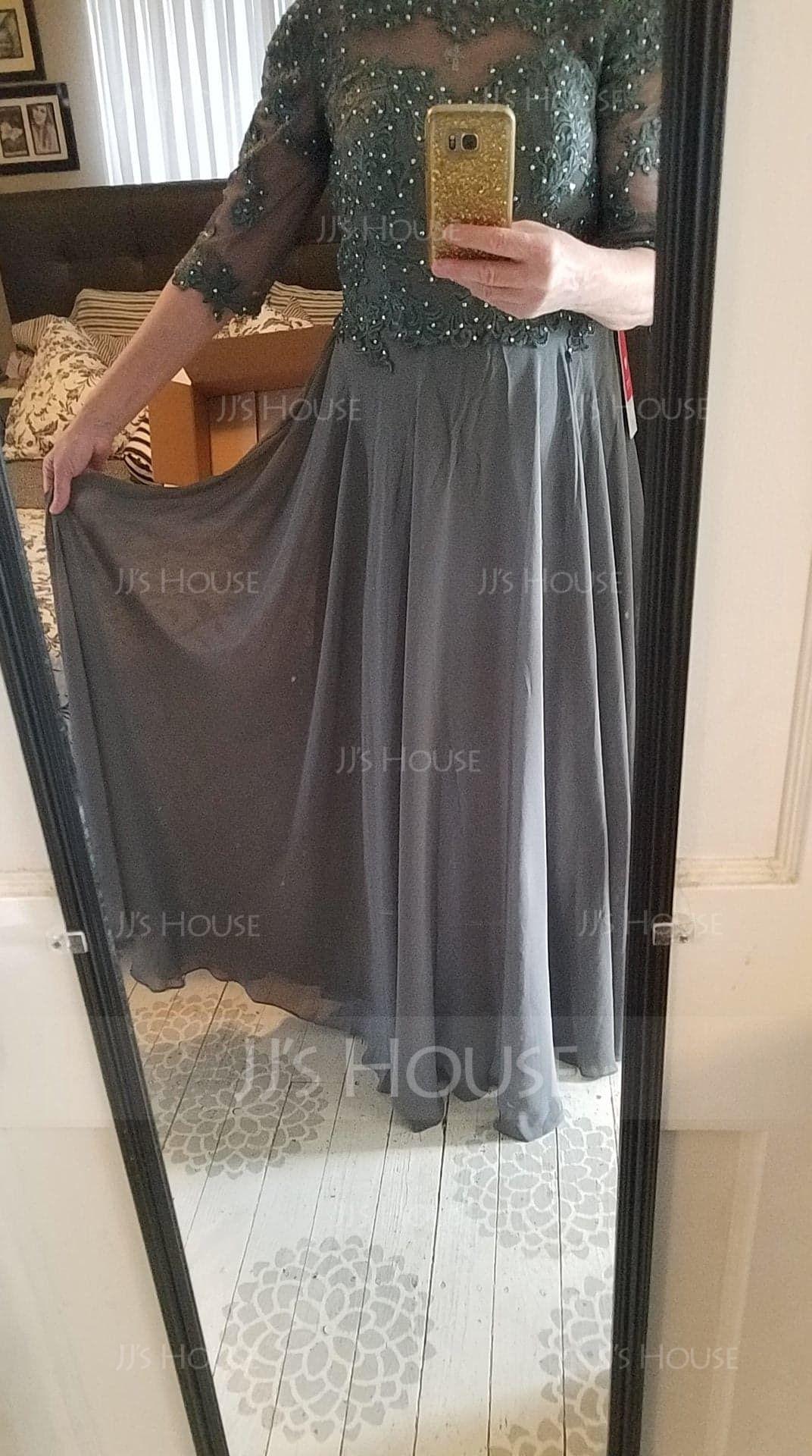 A-Line/Princess Scoop Neck Floor-Length Chiffon Evening Dress With Beading (017147954)